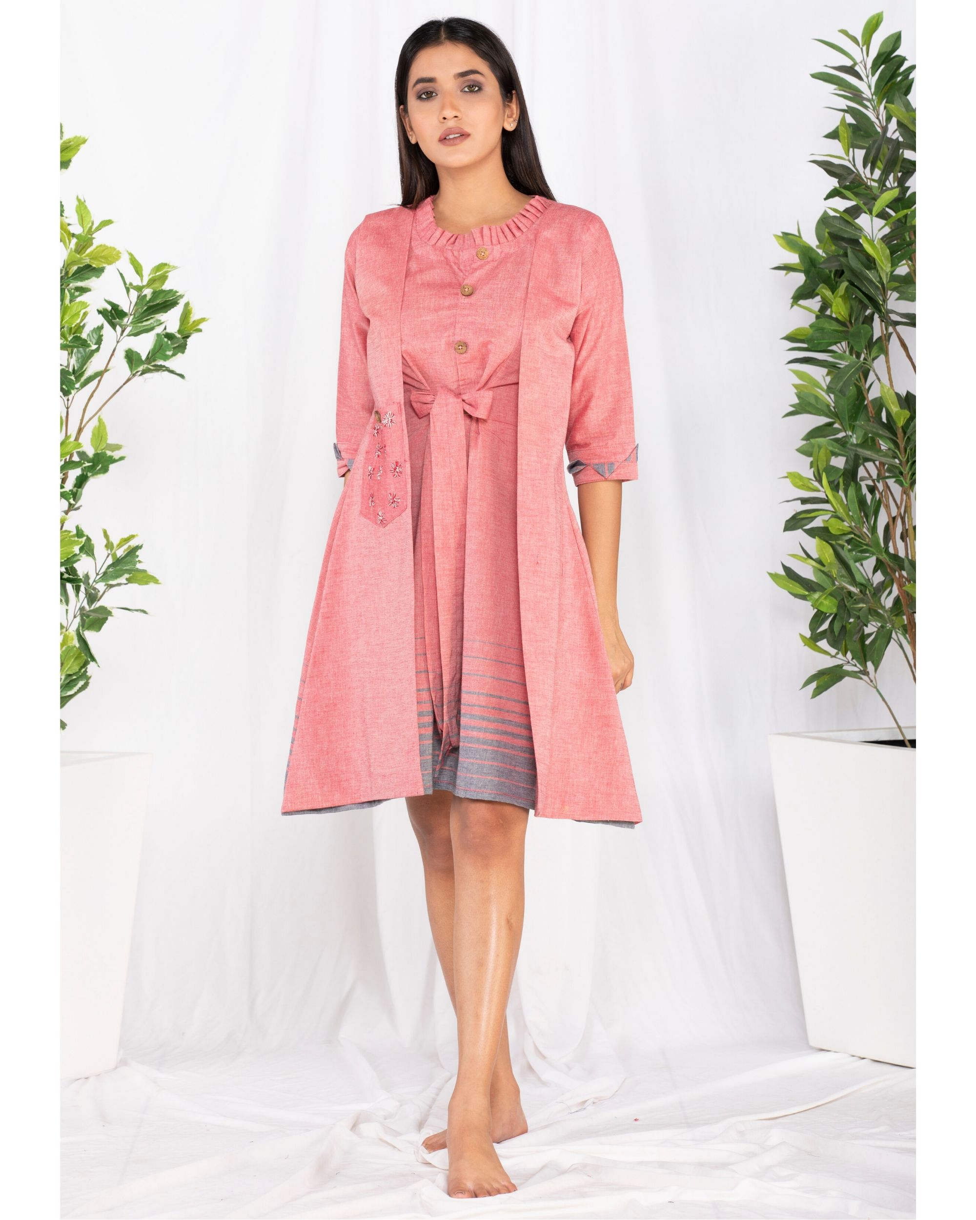 Pink printed overlap tie-up dress