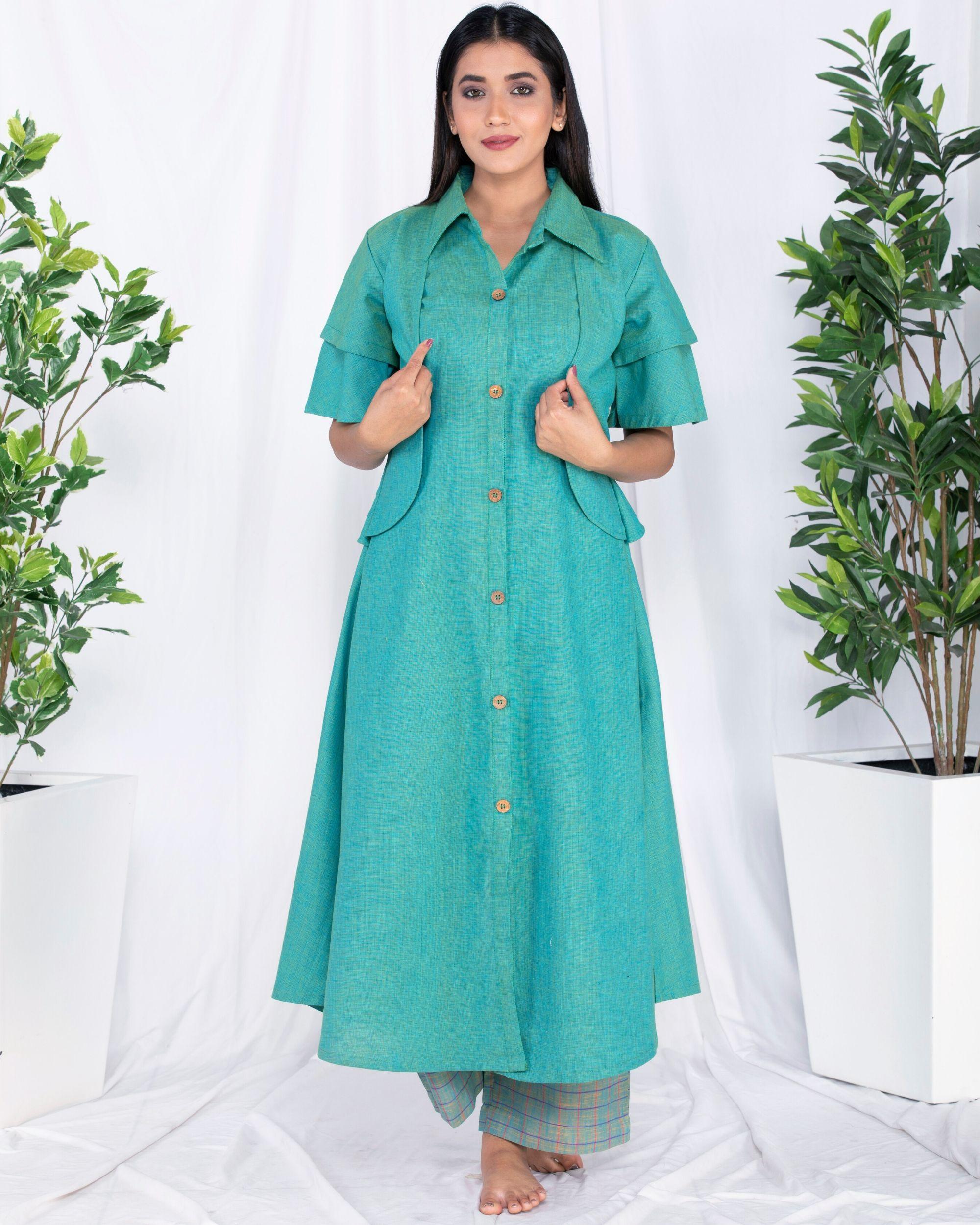 Green layered jacket kurta and palazzo set- Set Of Two