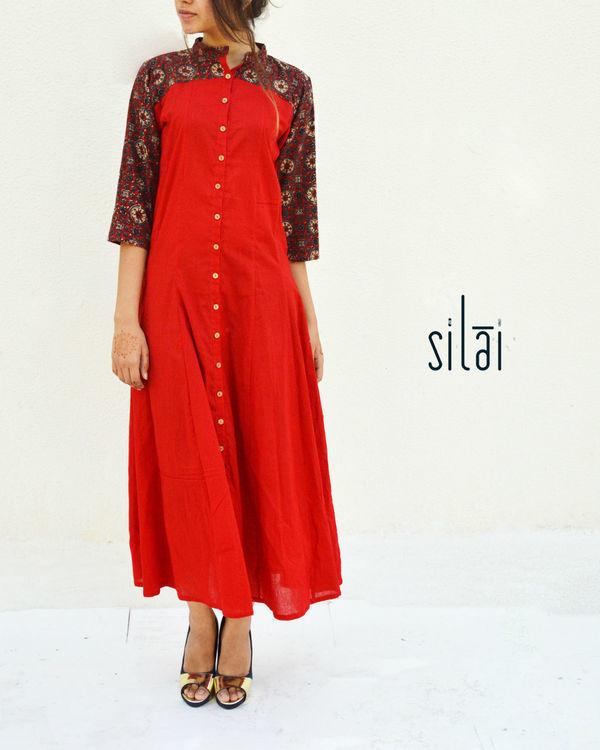 Red ajrakh print yoke dress