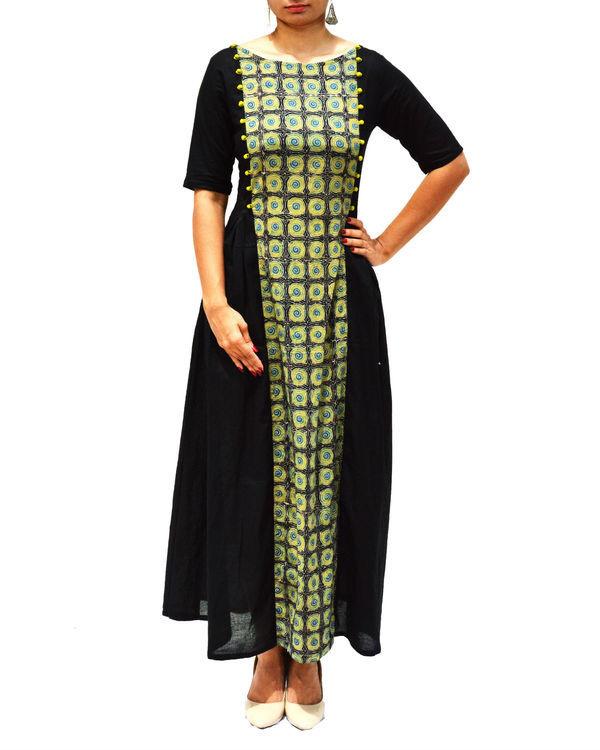 Ajrakh panel black maxi dress