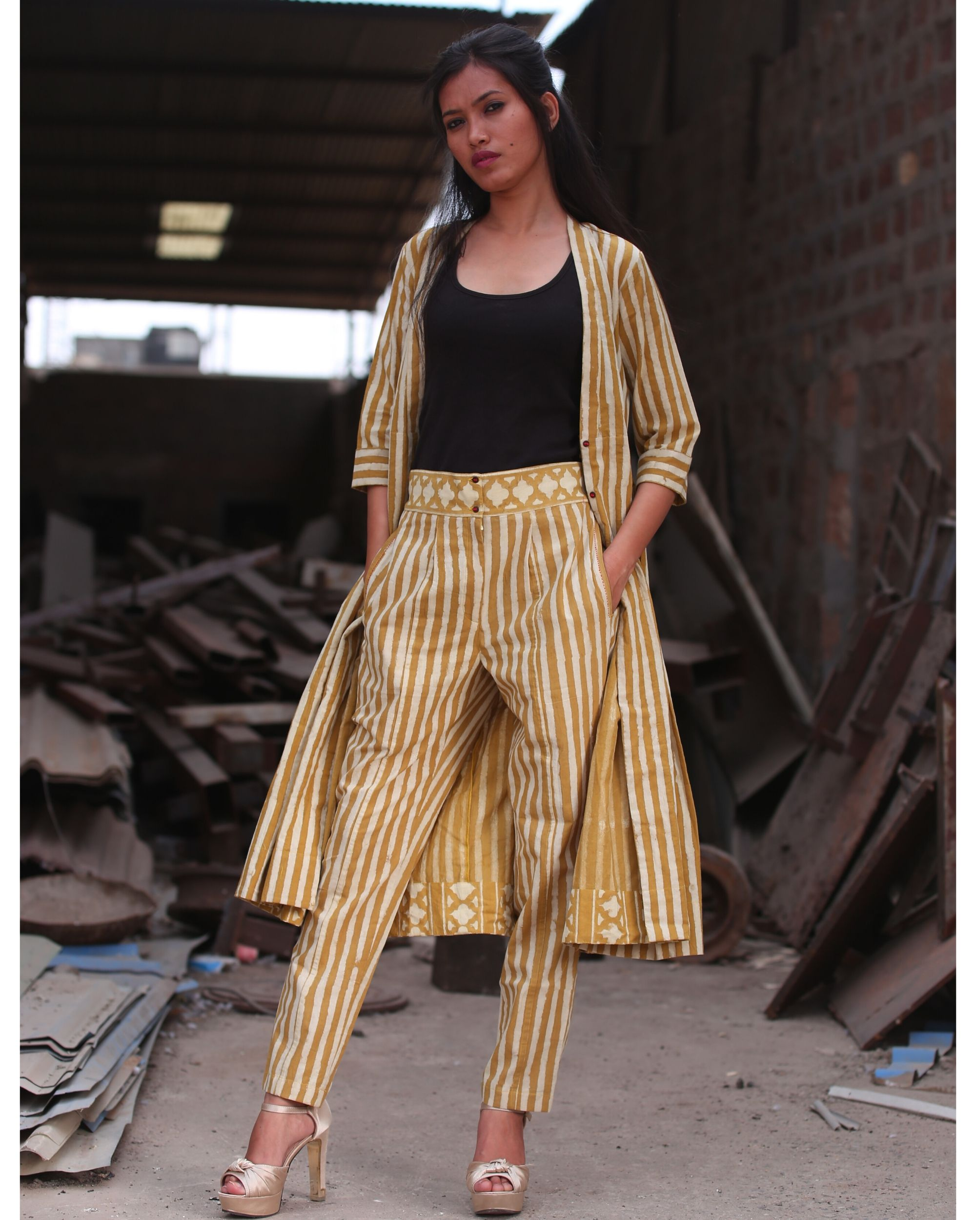 Mustard yellow striped buttoned pants