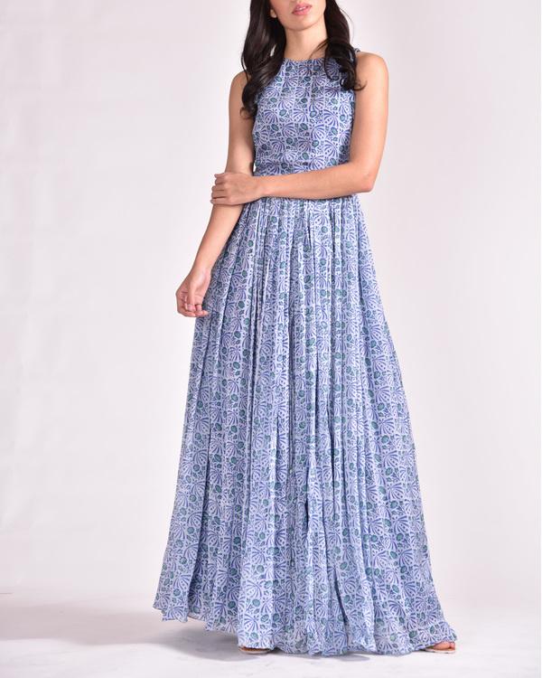 Blue cut out maxi dress