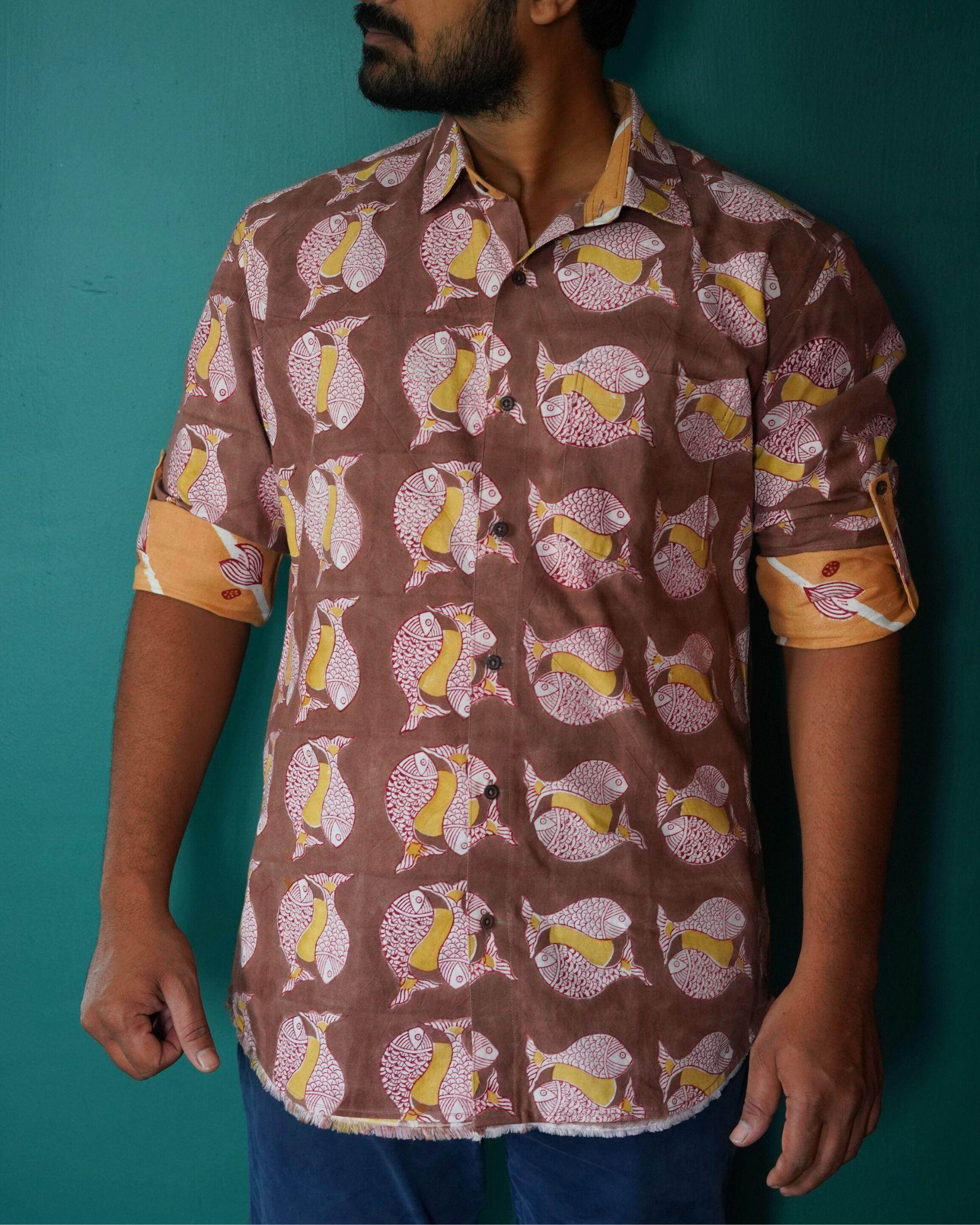 Brown fish printed shirt