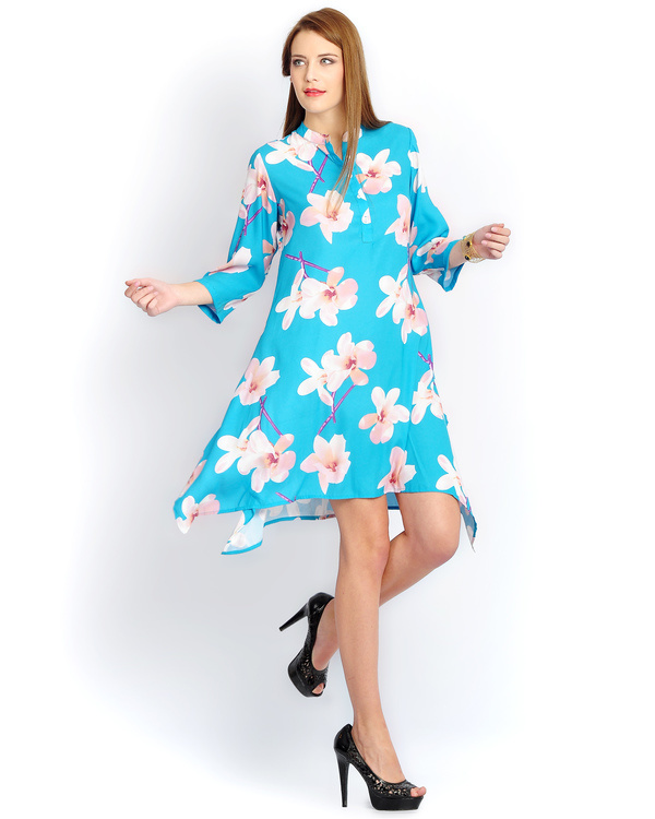 Turquoise big floral print long a-line shirt
