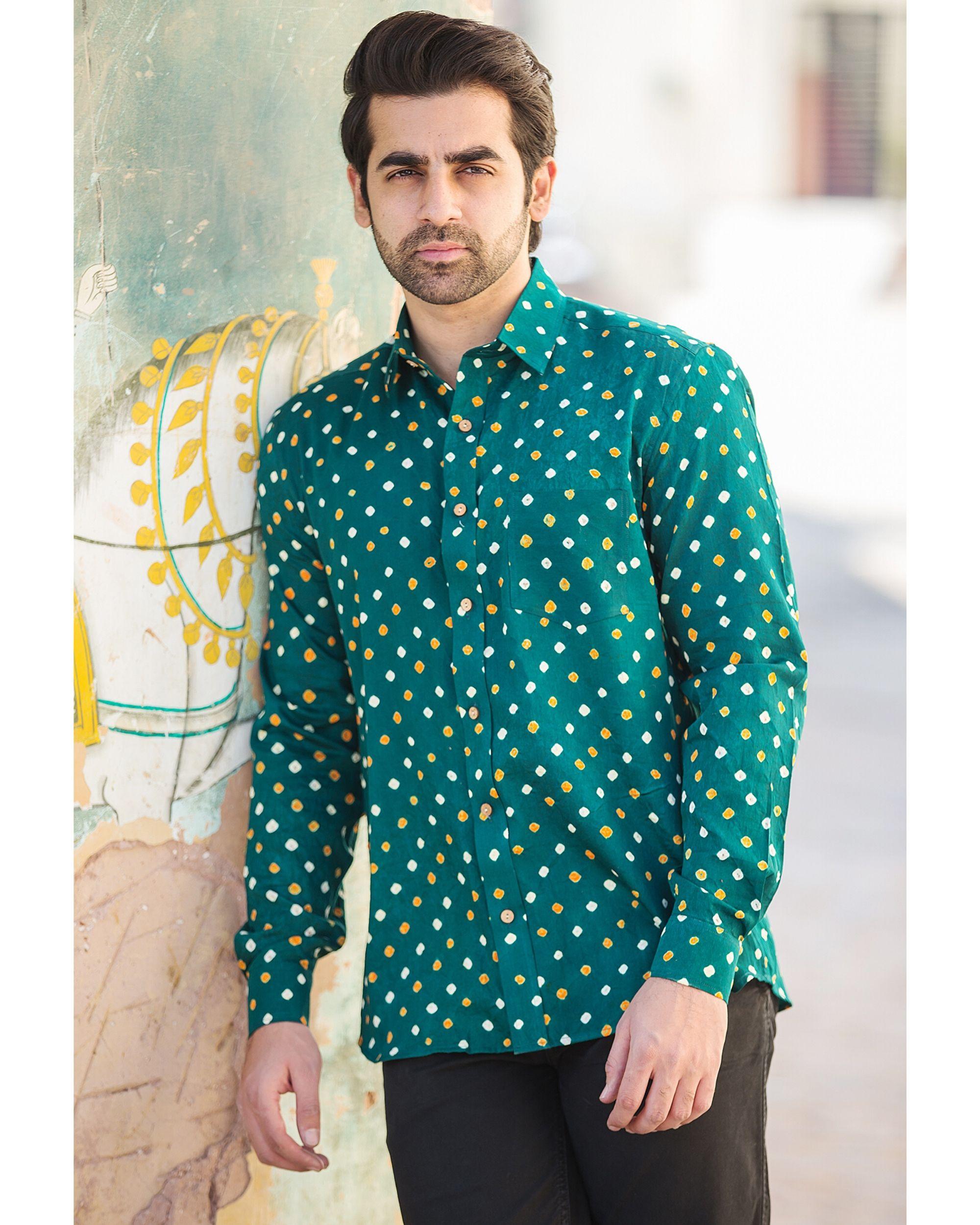 Green bandhani printed shirt