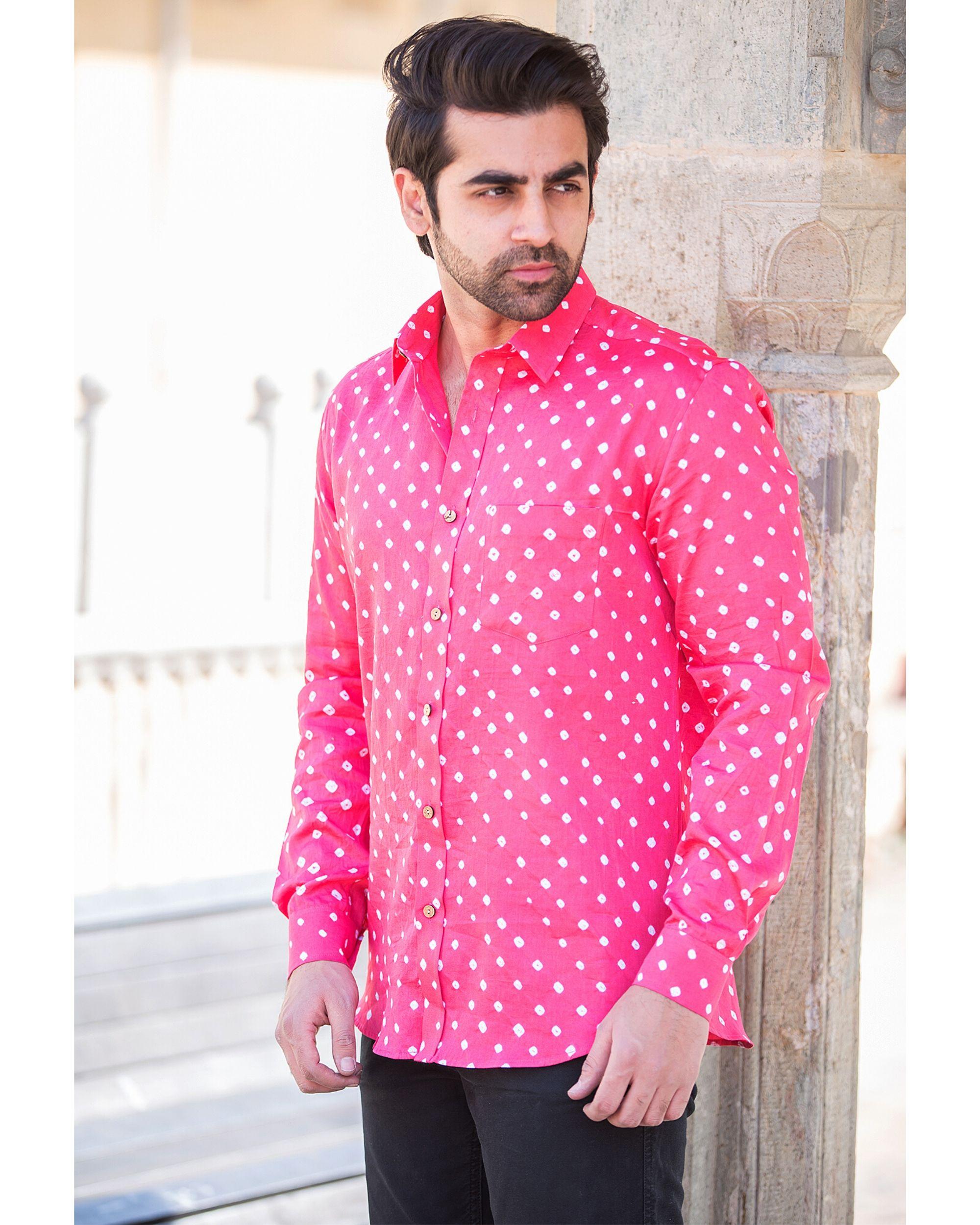 Pink bandhani printed shirt