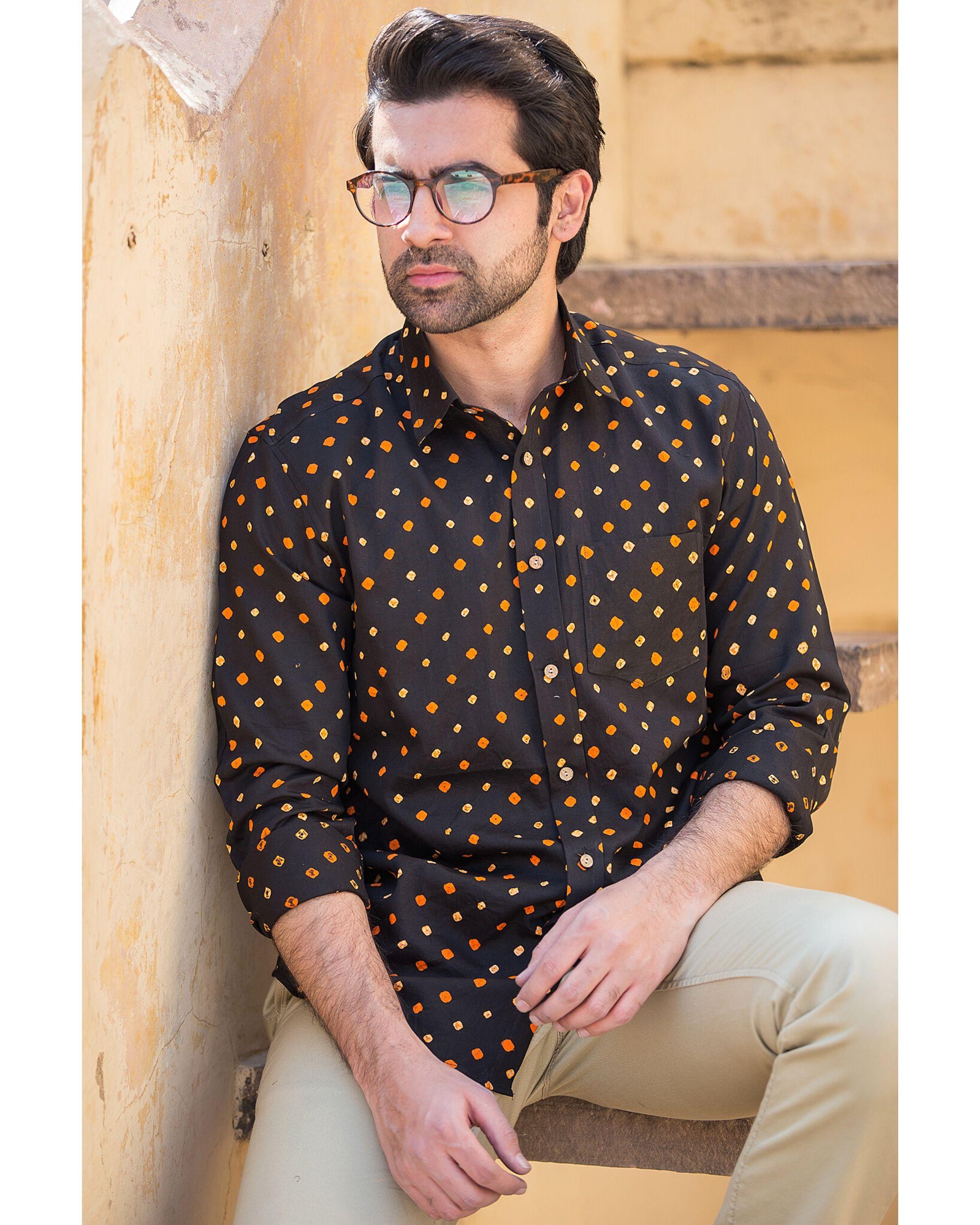 Black bandhani printed shirt