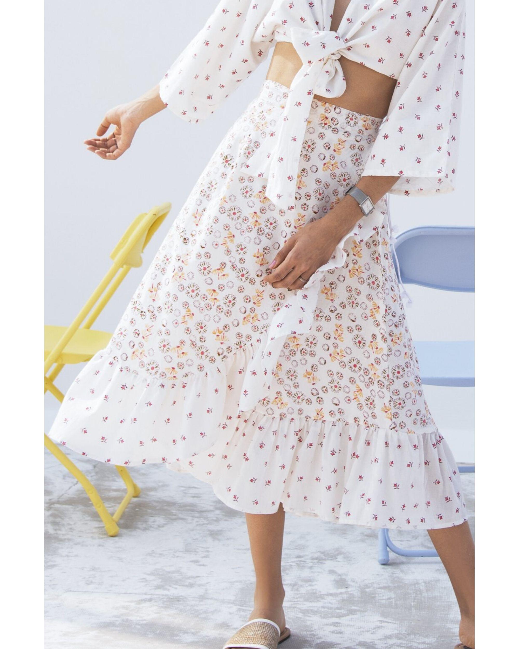 Jasmine printed wrap on skirt