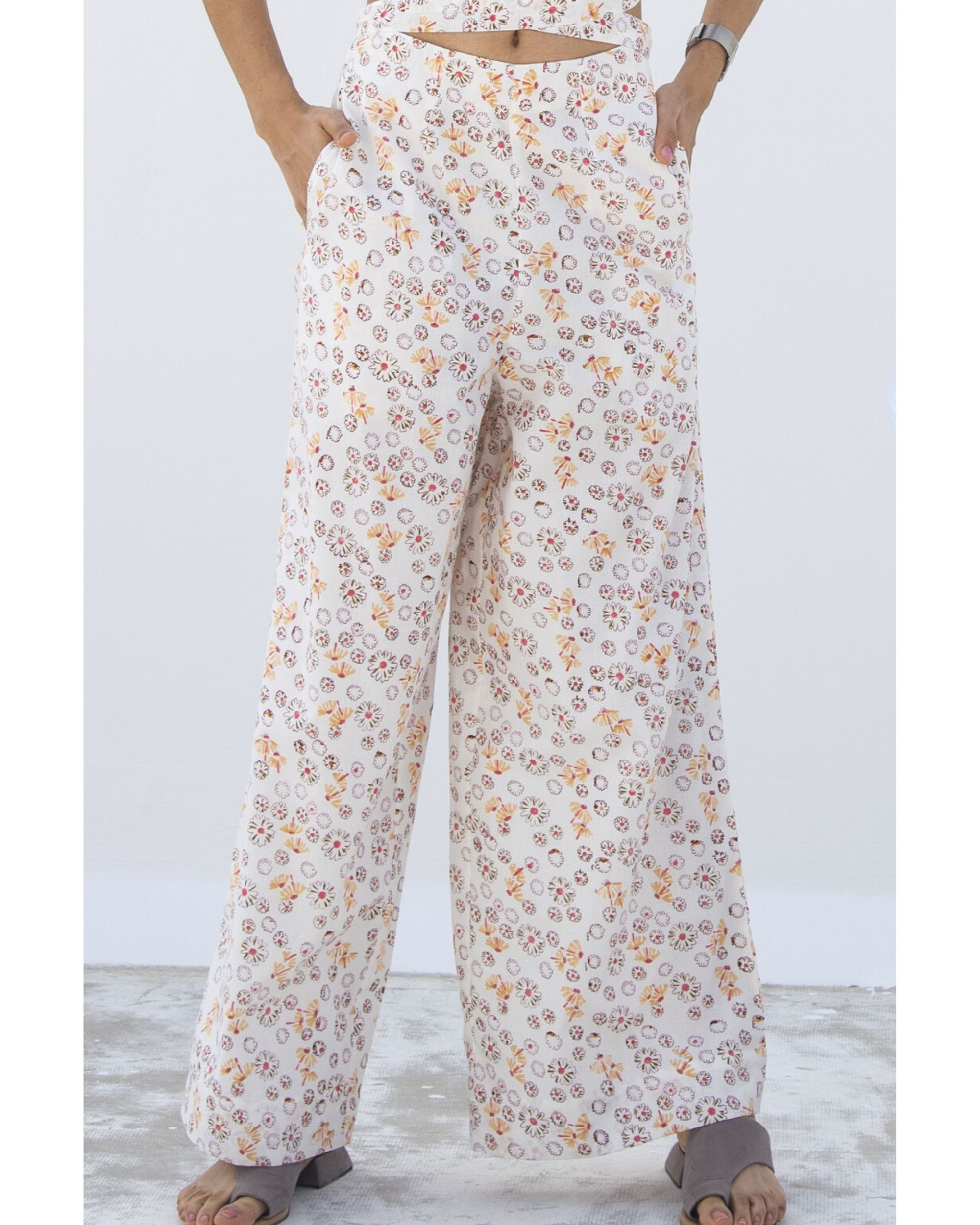 White floral wide pants