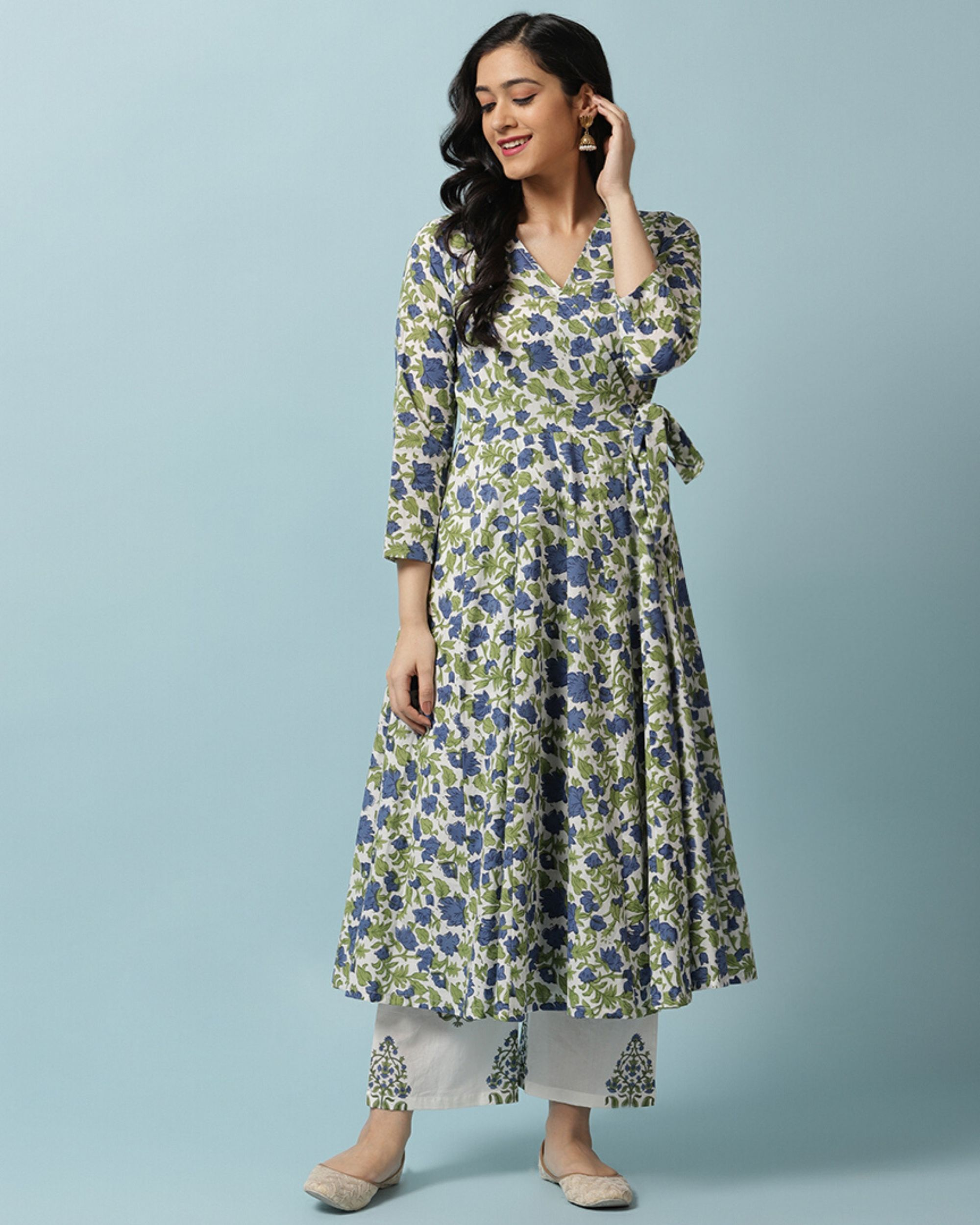 Blue floral angrakha and palazzo- Set Of Two