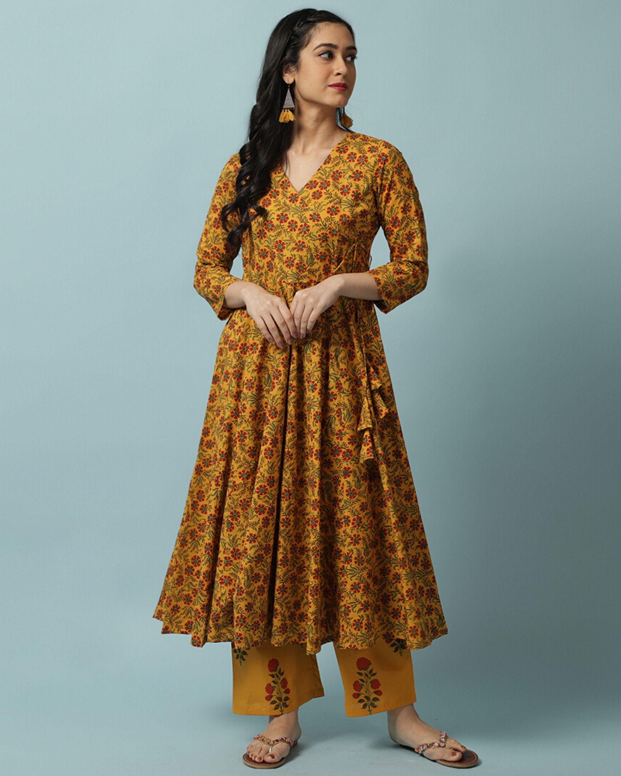 Mustard yellow floral kalidar angrakha and palazzo- Set Of Two