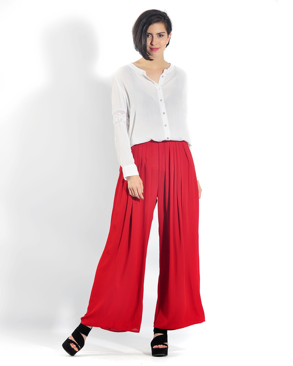 Red pleated palazzo pants