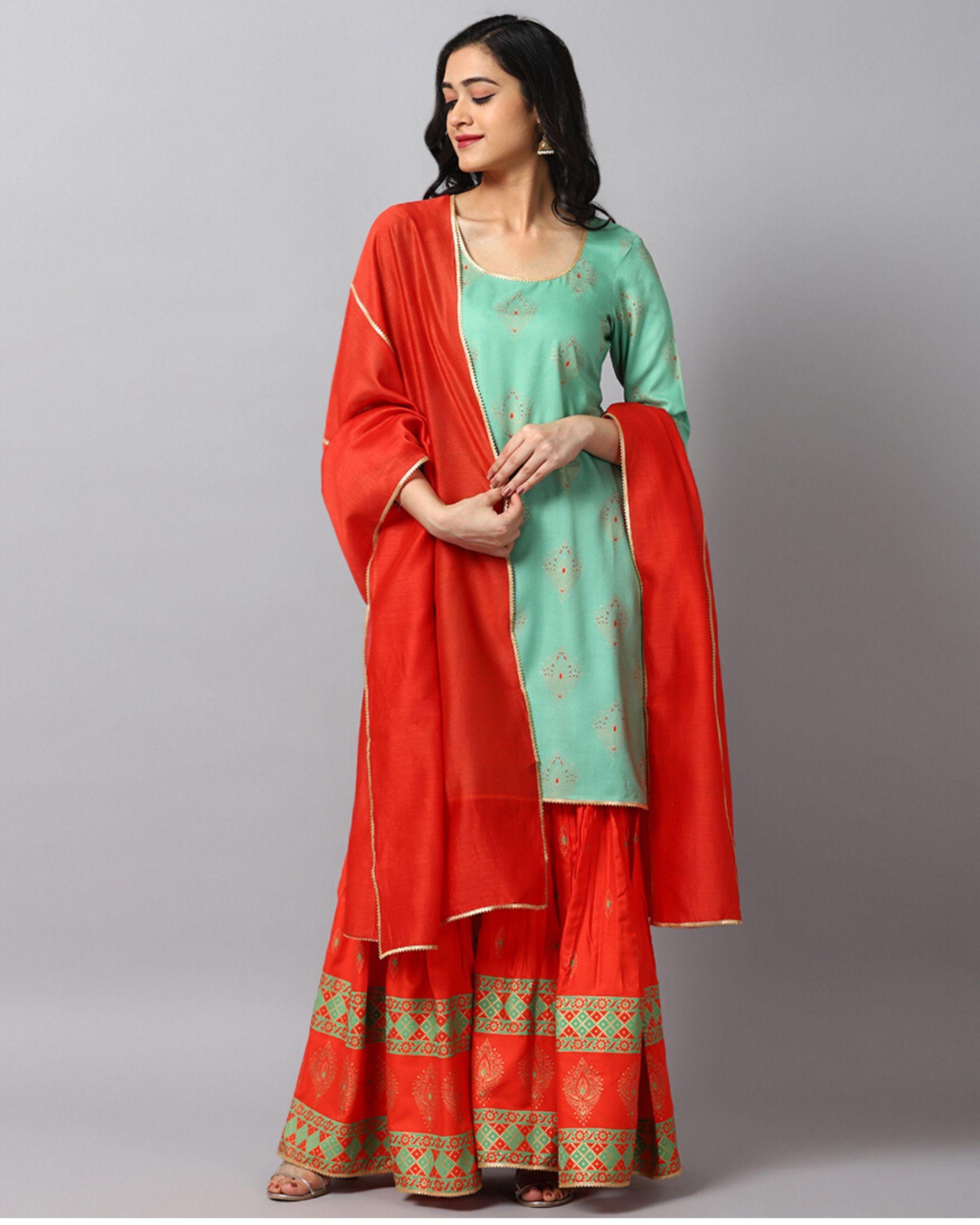 Turquoise printed gota kurta and gharara with red dupatta- Set Of Three