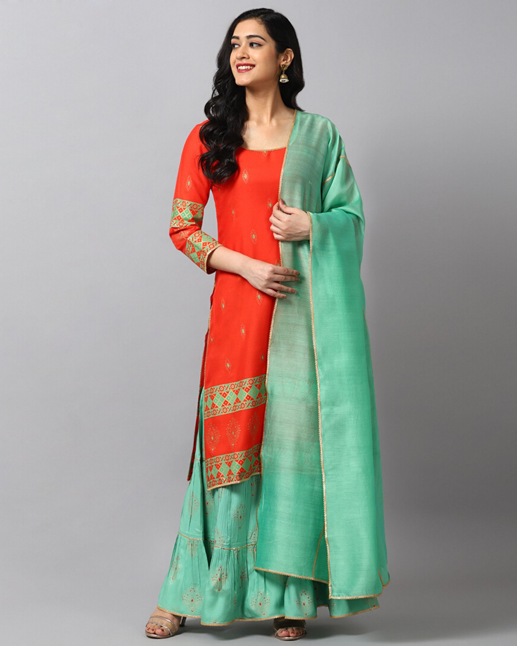 Red panel printed kurta and sharara with turquoise dupatta- Set Of Three