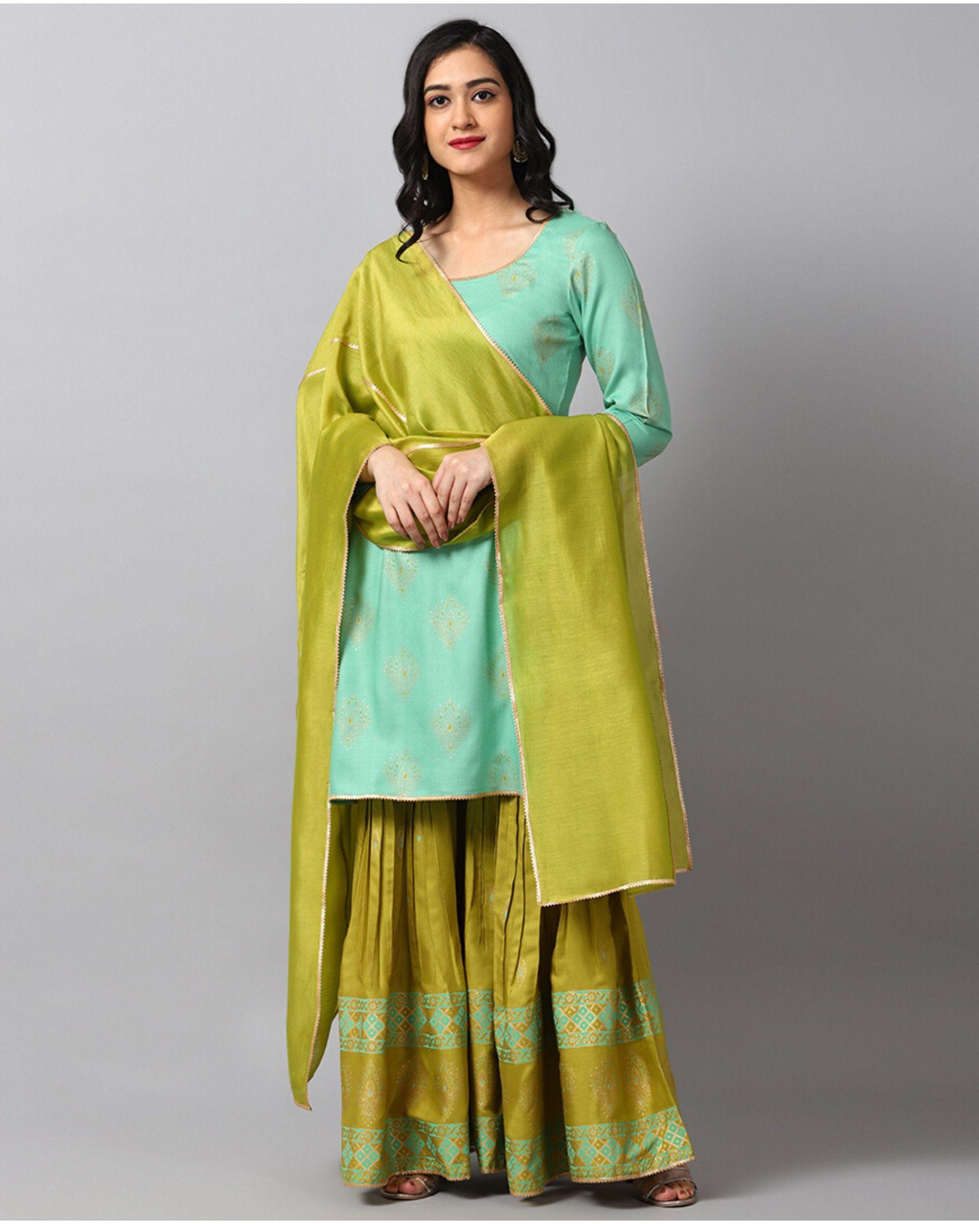 Turquoise printed gota kurta and gharara with green dupatta- Set Of Three