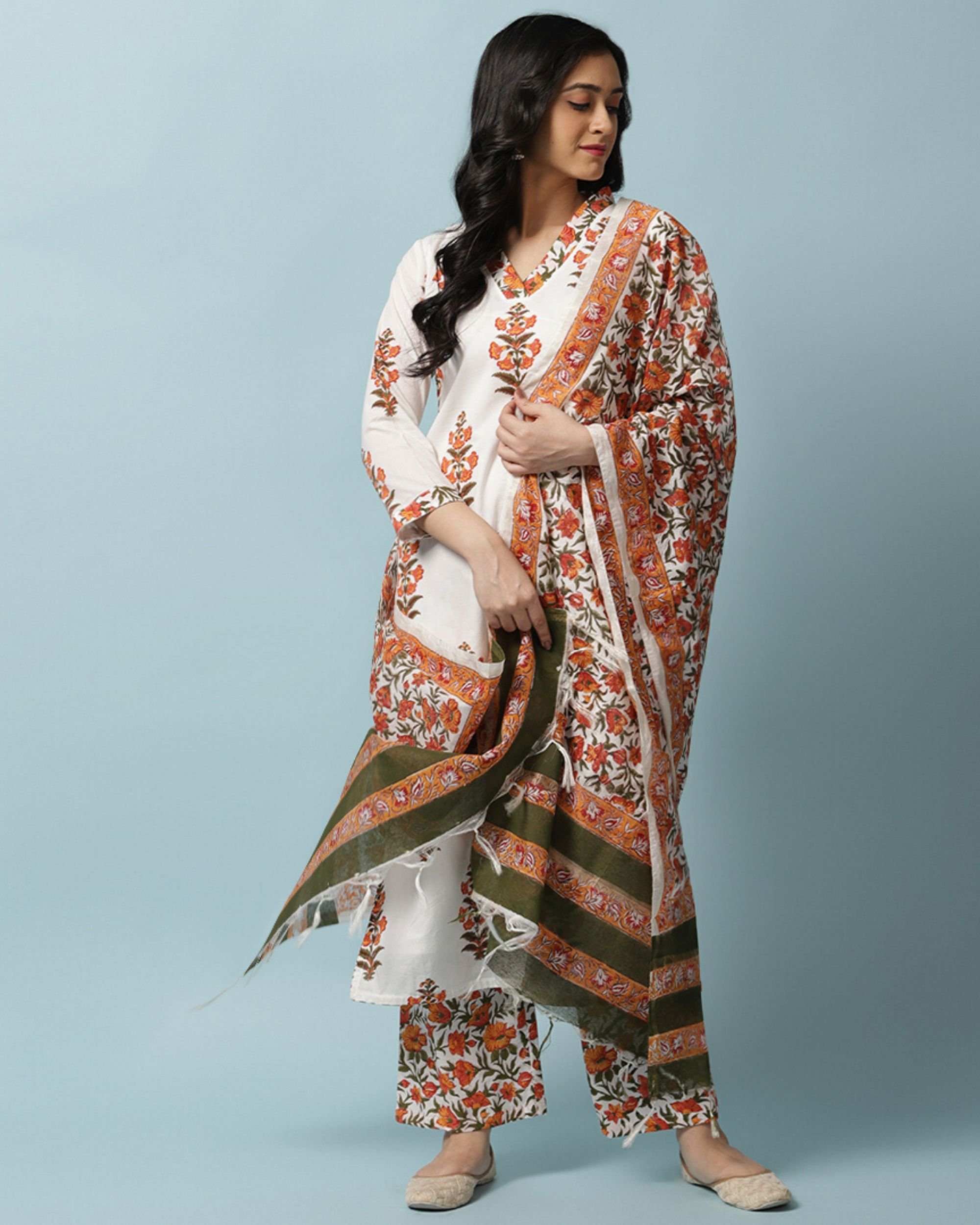 White and orange floral kurta and palazzo with dupatta- Set Of Three