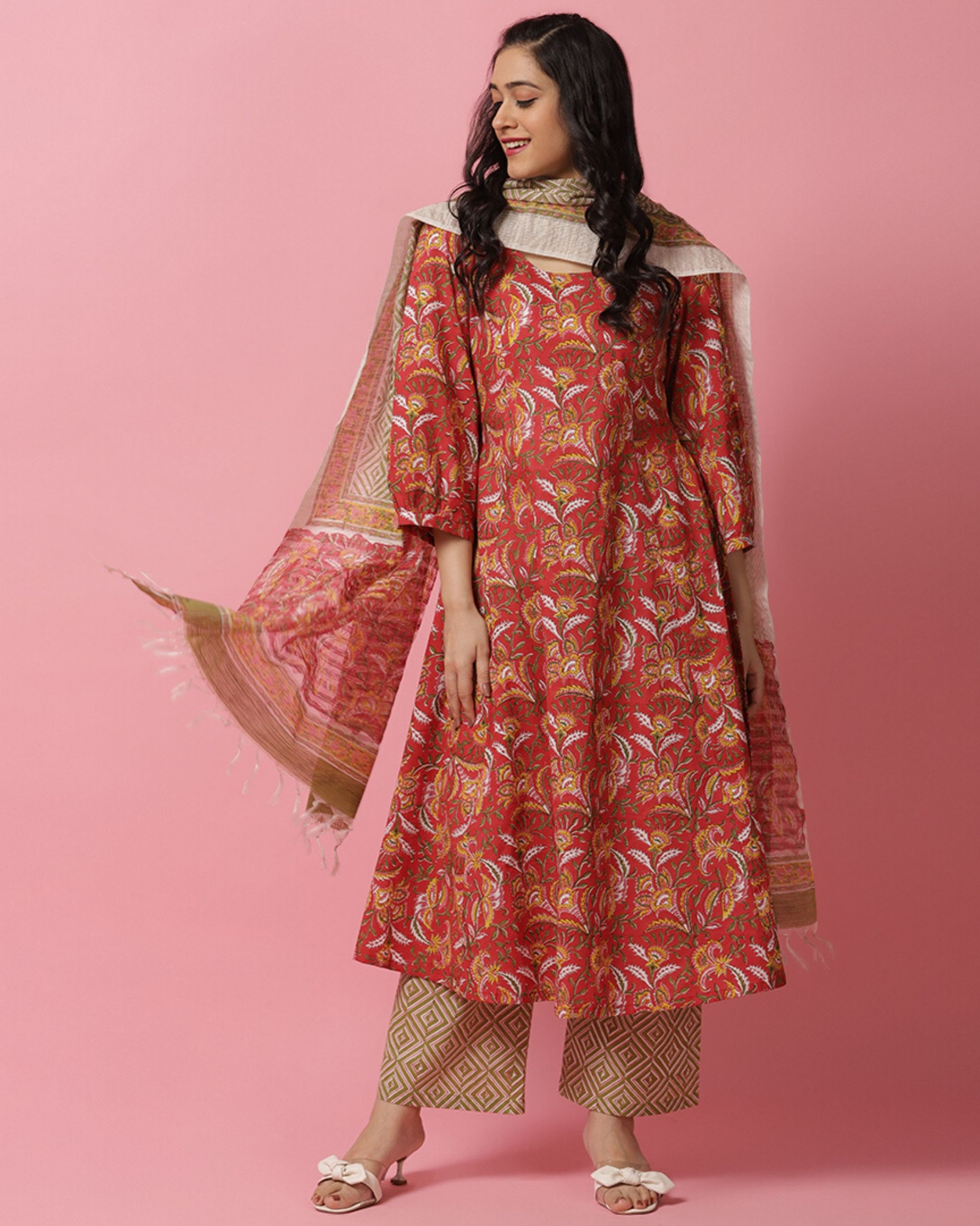 Red hand block printed flared kurta and palazzo with dupatta- Set Of Three