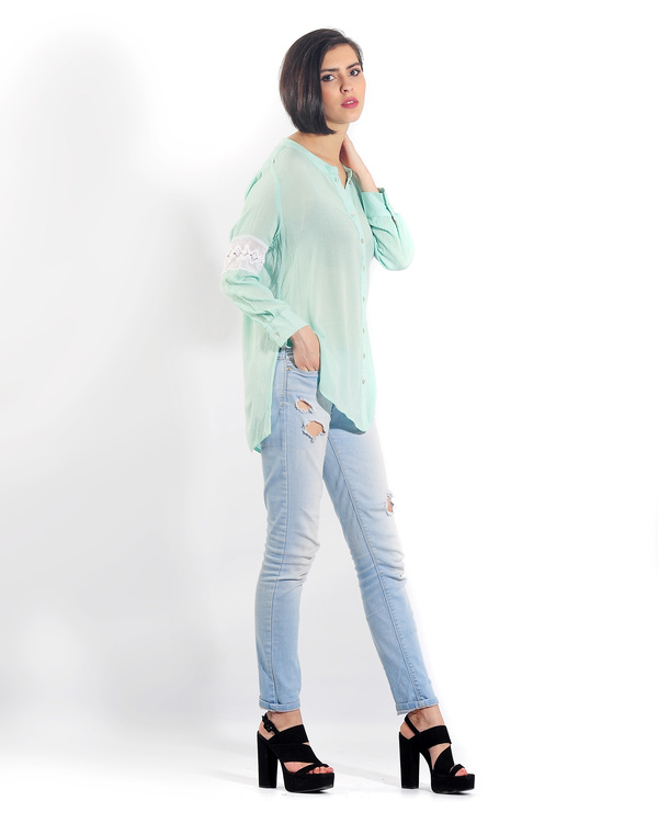 Turquoise lace button down shirt