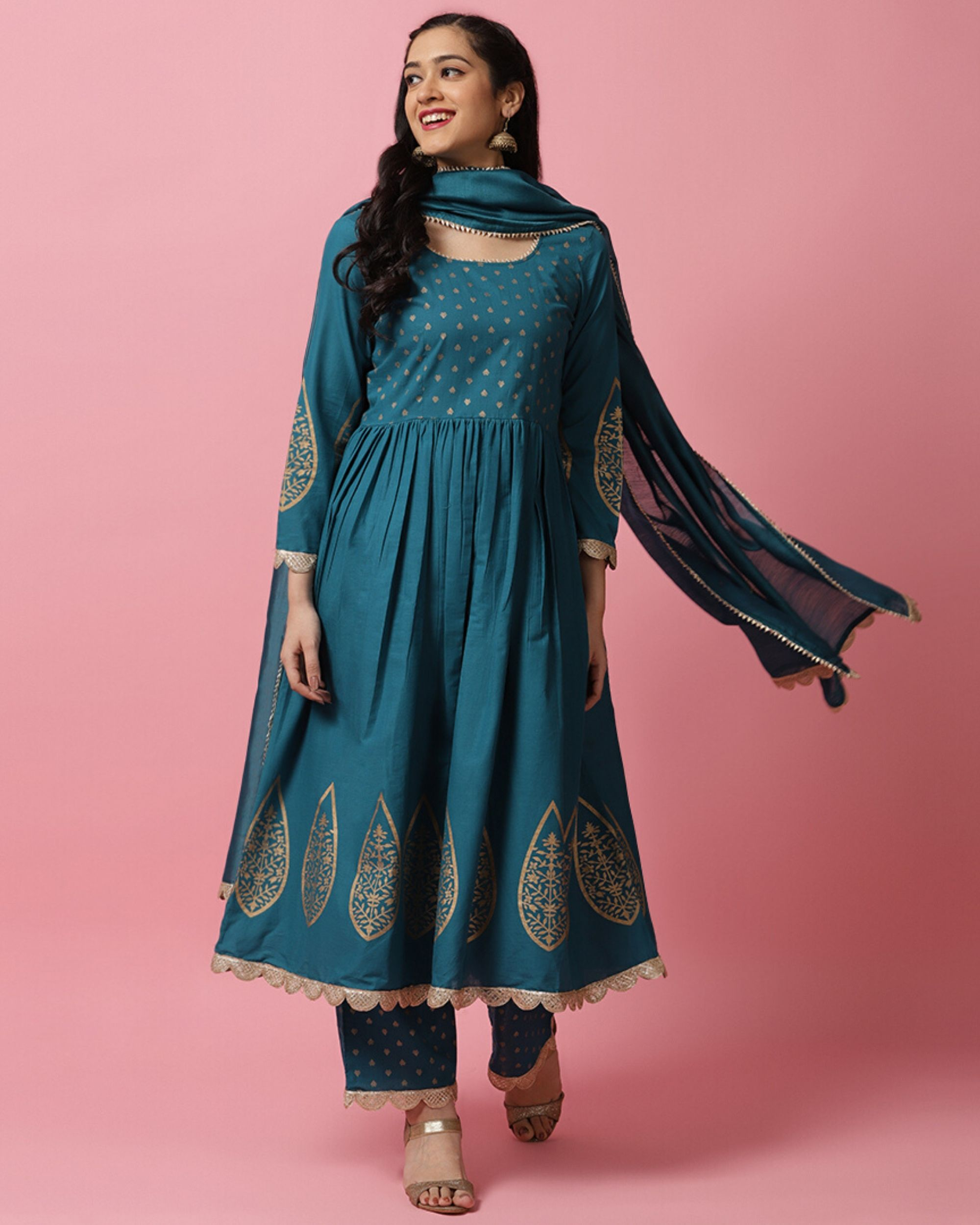 Teal blue panel printed anarkali and palazzo with dupatta- Set Of Three
