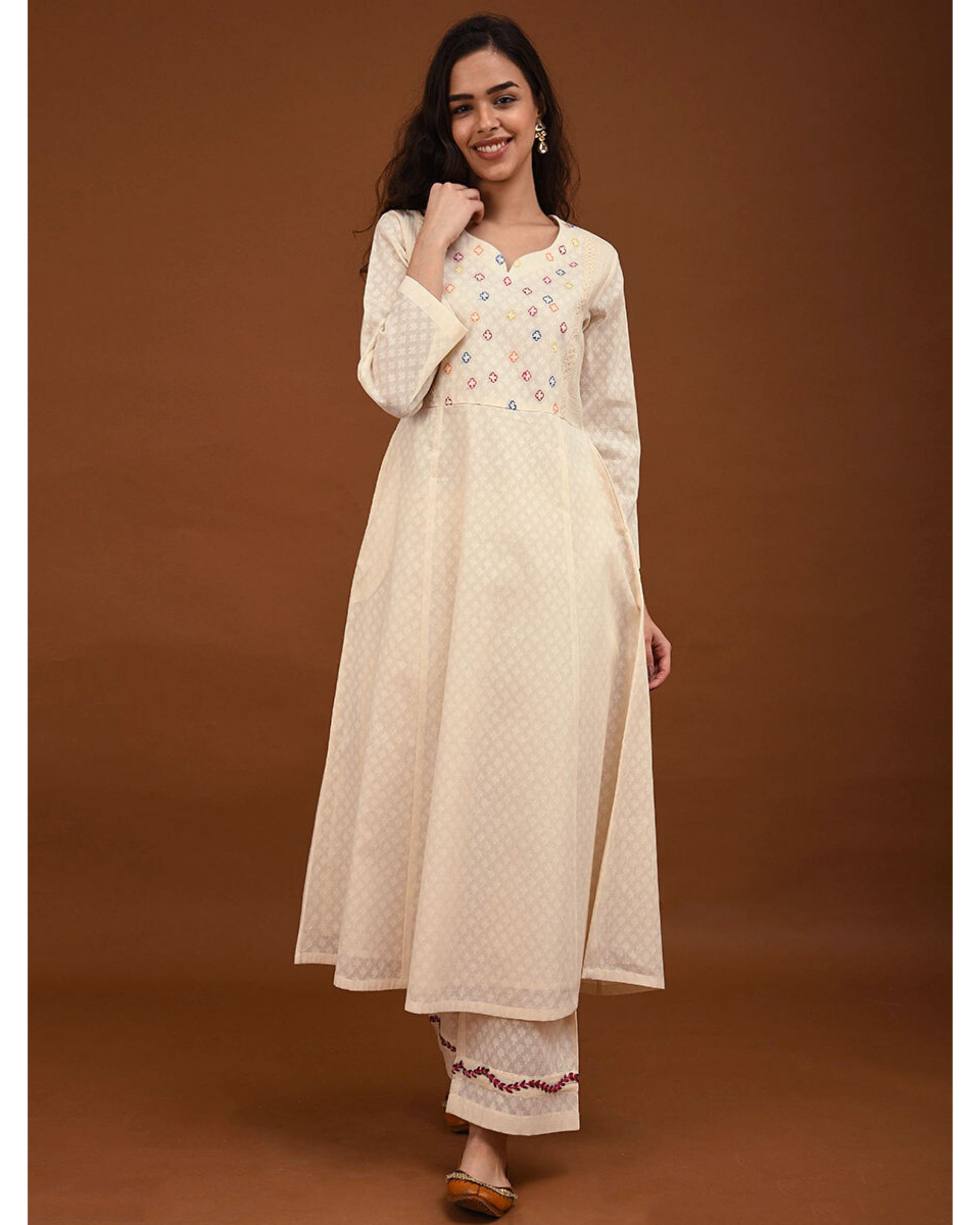 Off white hand embroidered yoke Kurta
