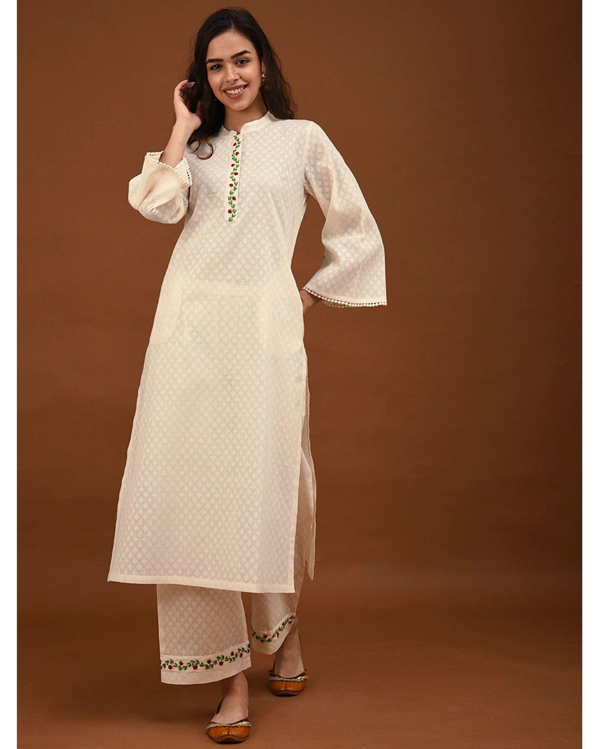 Off white hand embroidered bell sleeve kurta
