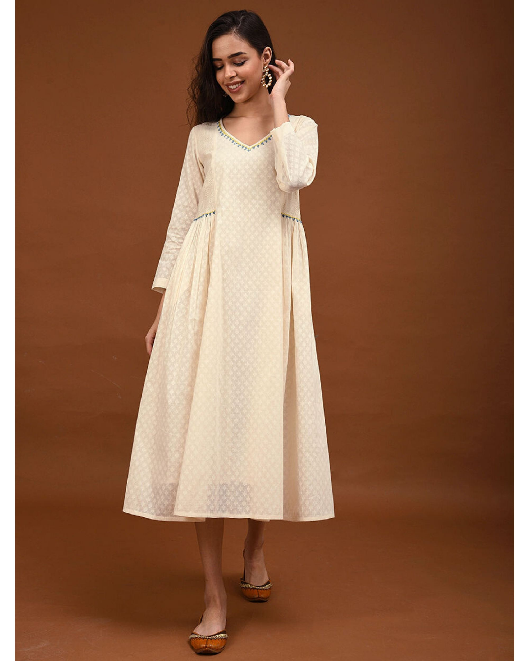 Off white hand embroidered gathers dress