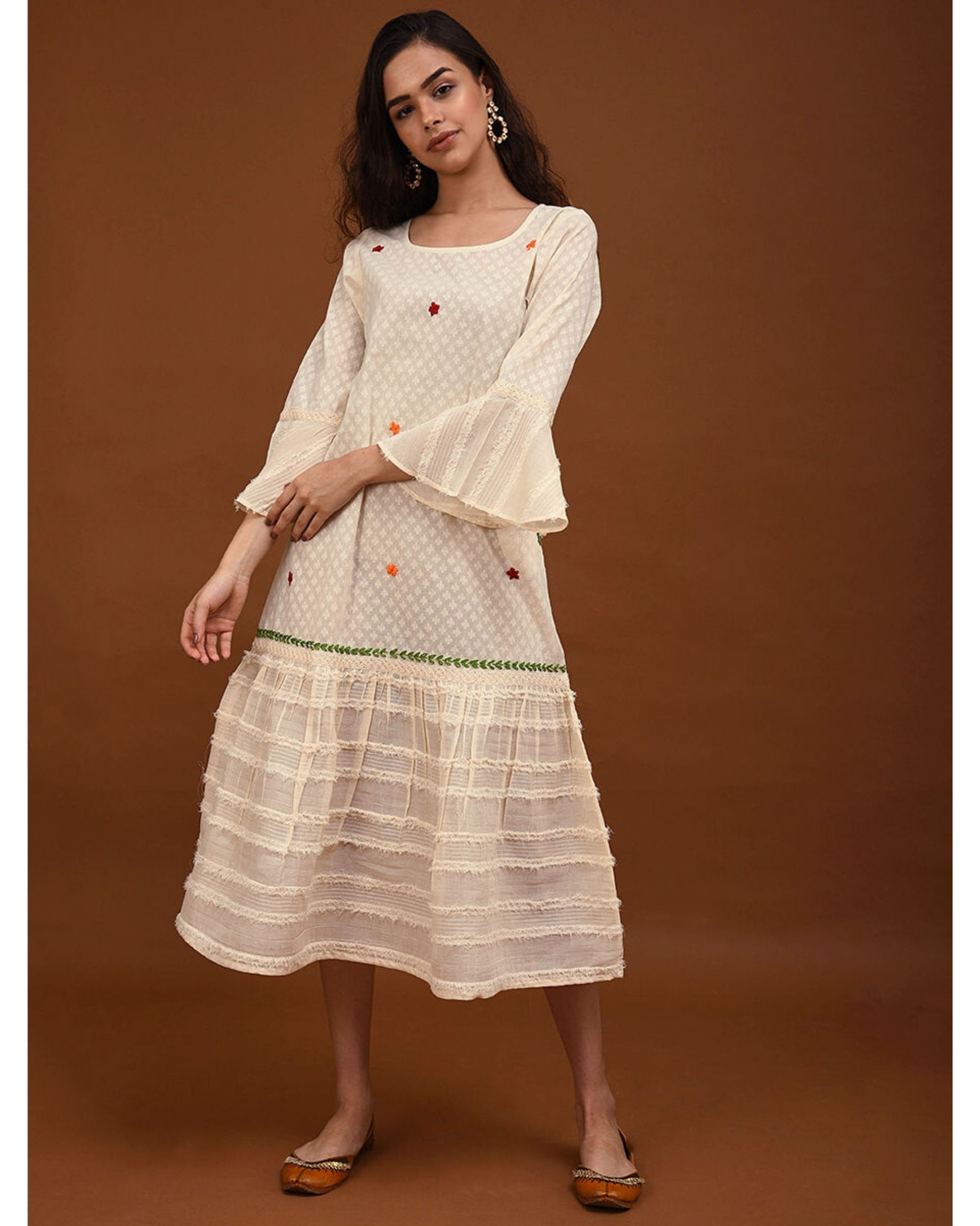 Off white hand embroidered paneled dress