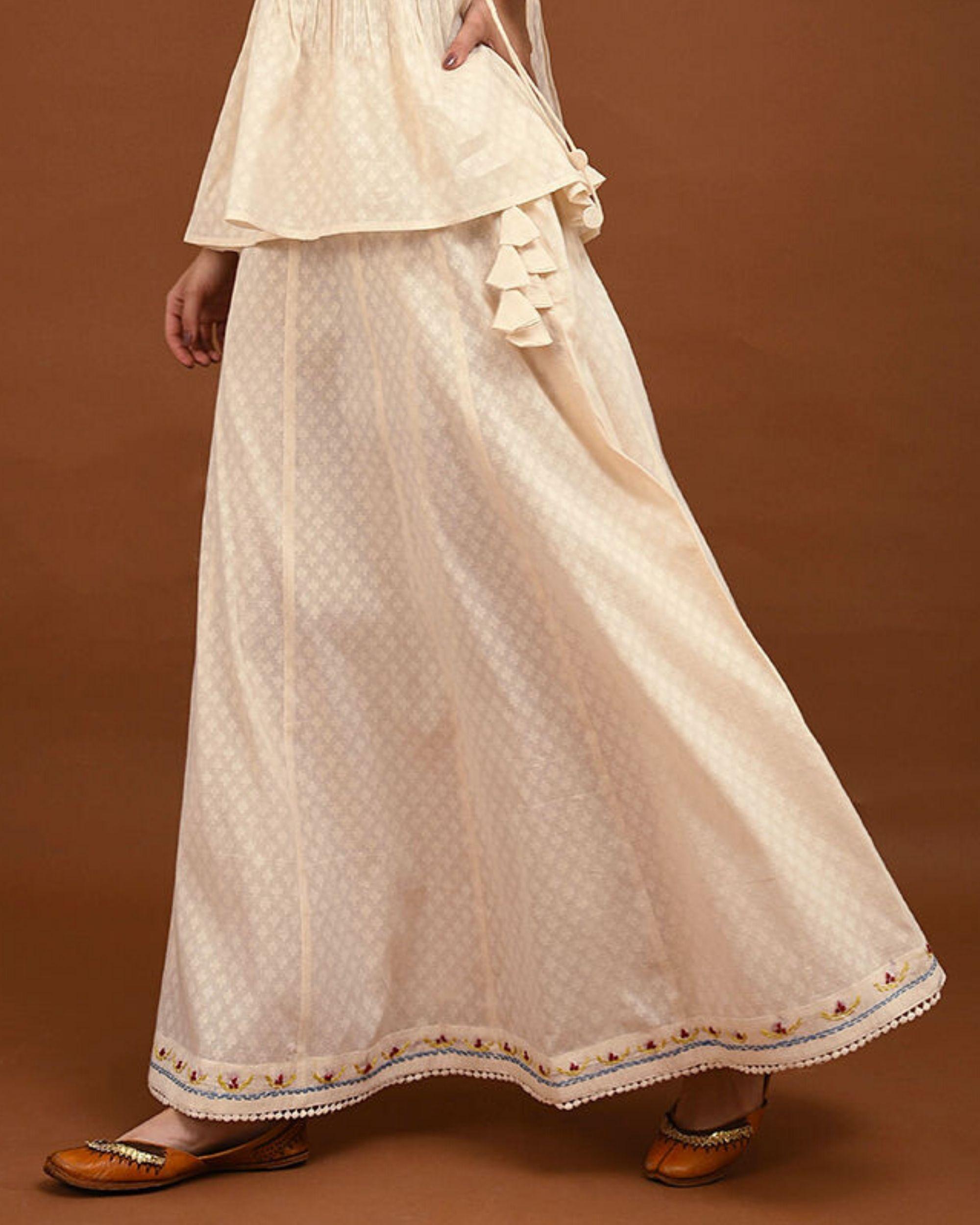 Off white paneled skirt