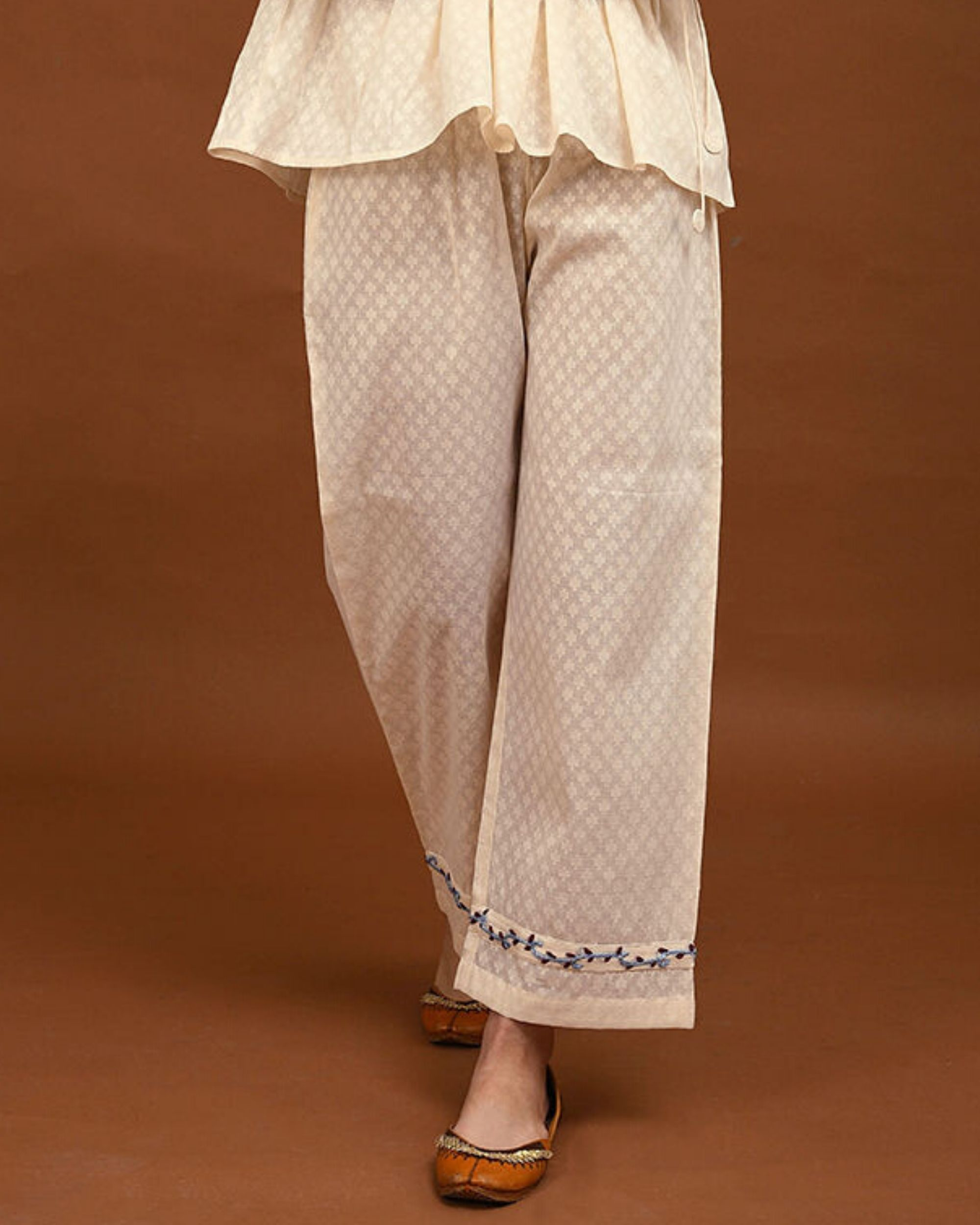 Off white and blue hand embroidered palazzo