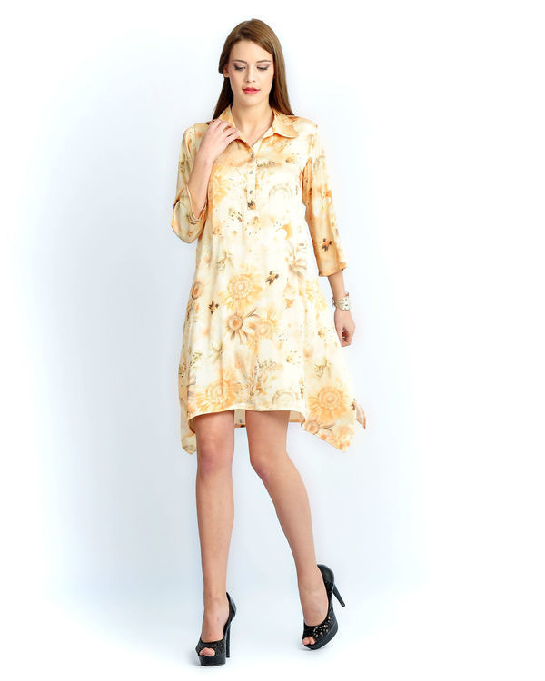 Sun flower long a-line shirt