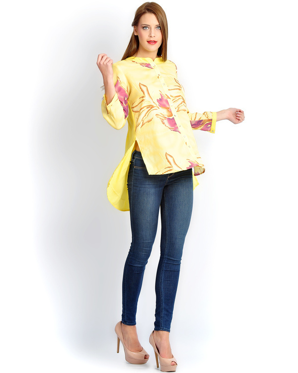 Yellow floral button down shirt