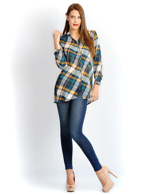 Grey check front zipper shirt