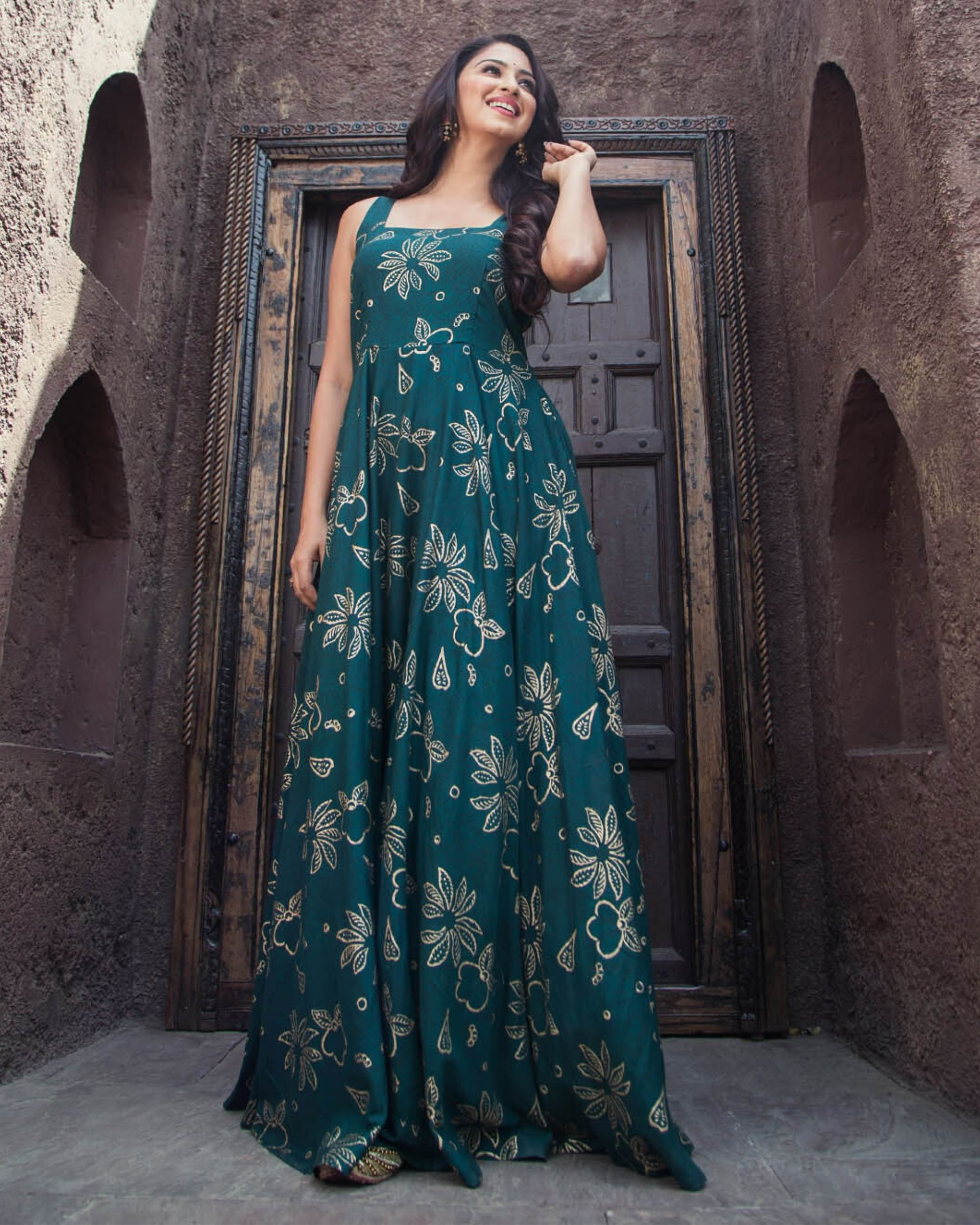 Dark green and gold foil printed dress