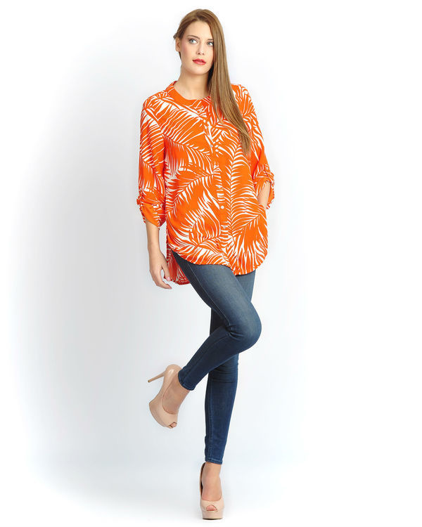 Orange palm button down shirt
