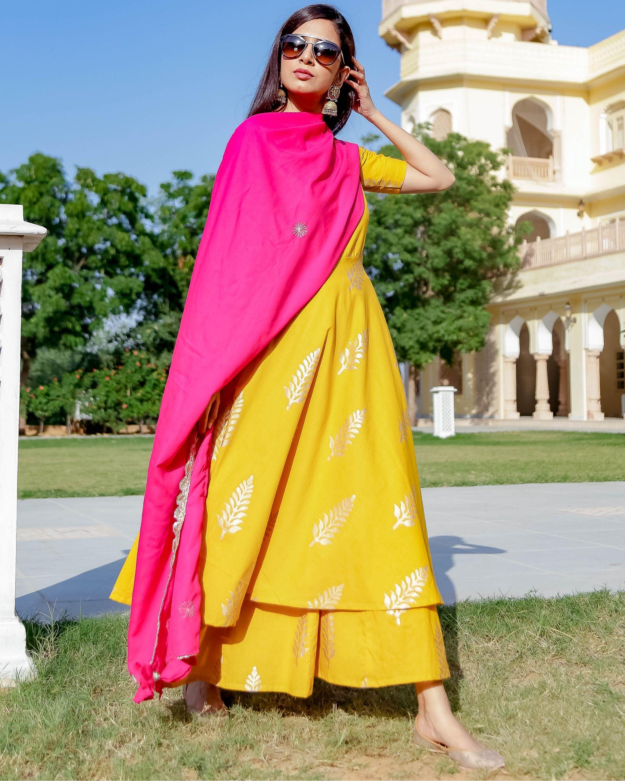 Yellow and gold foil printed kurta and palazzo with dupatta- Set Of Three