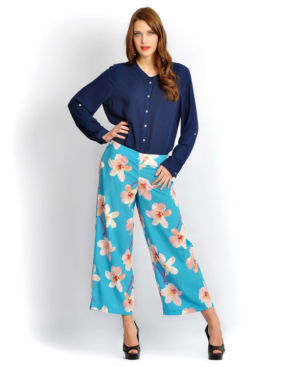 Turquoise big floral palazzos