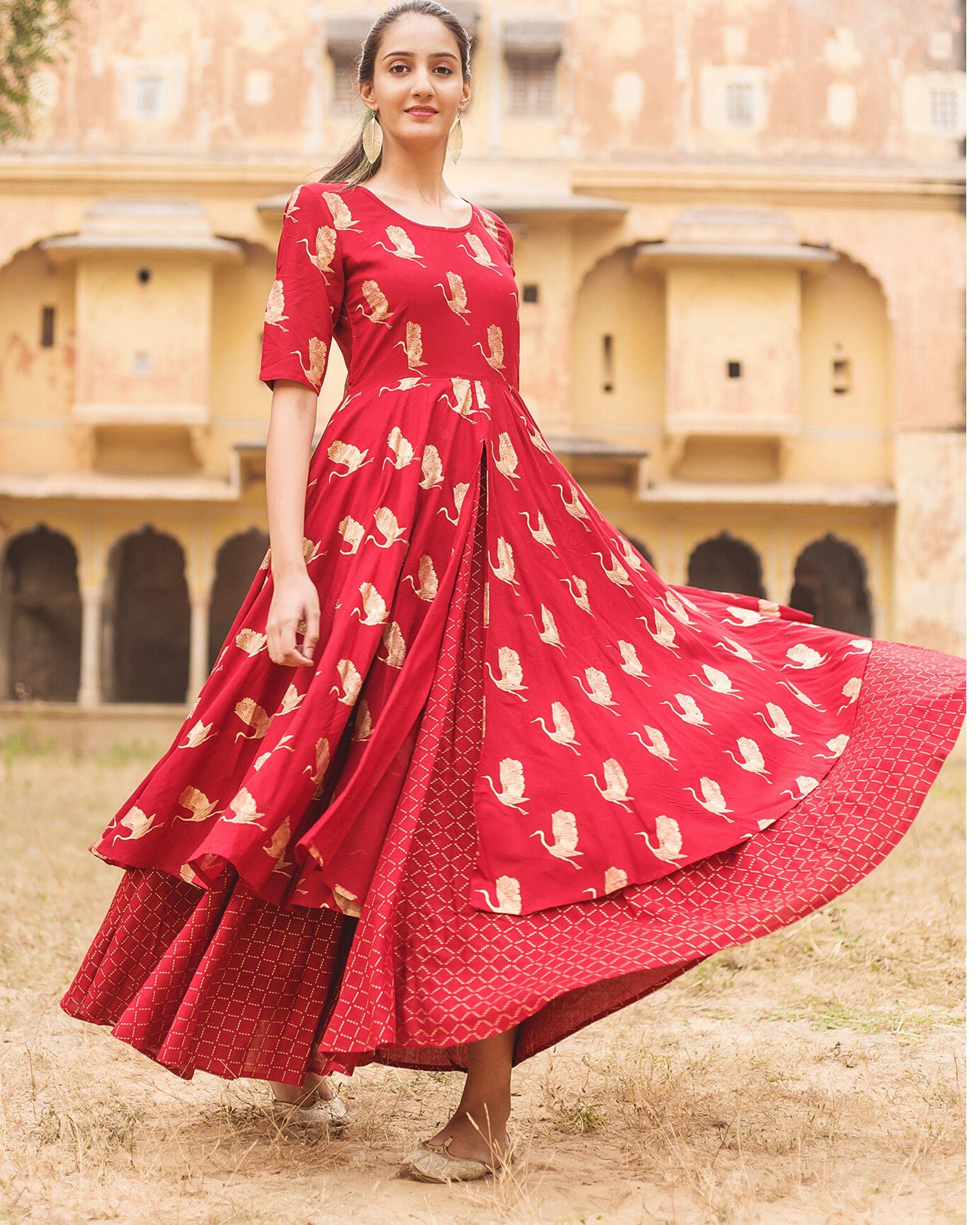 Red flamingo layered dress