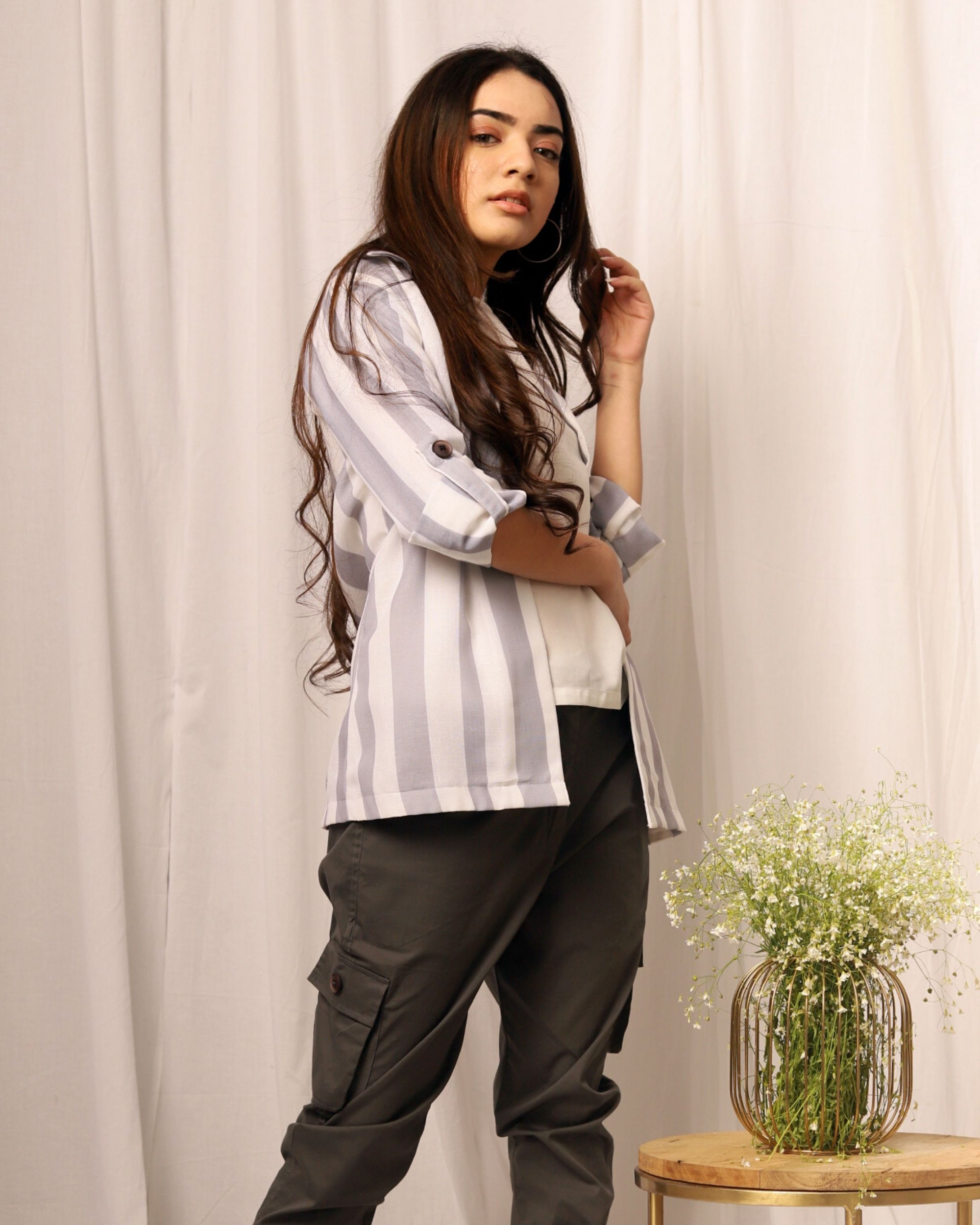 Grey and white striped flap sleeve jacket