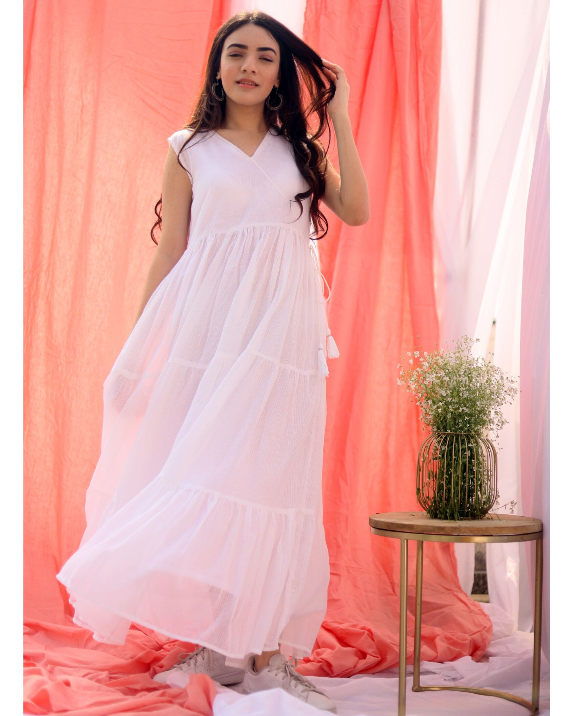 White gathered tier dress with inner slip- Set Of Two