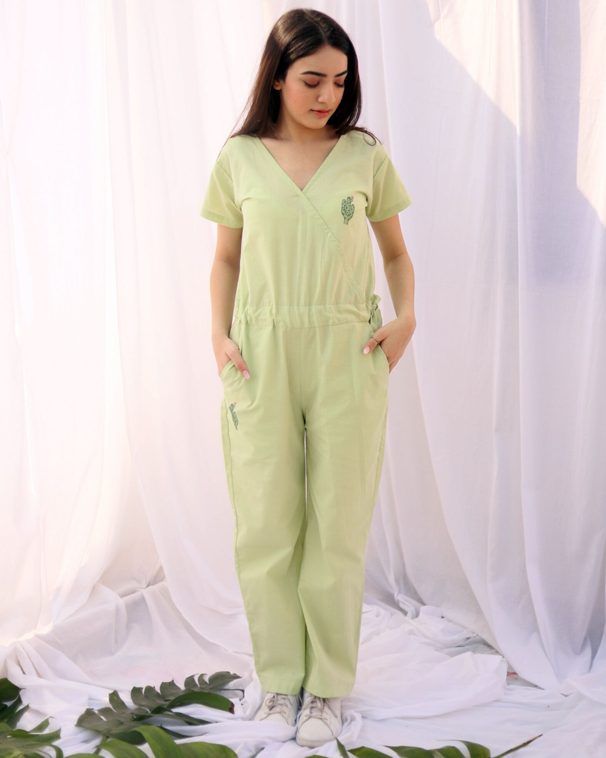 Pastel green cactus jumpsuit
