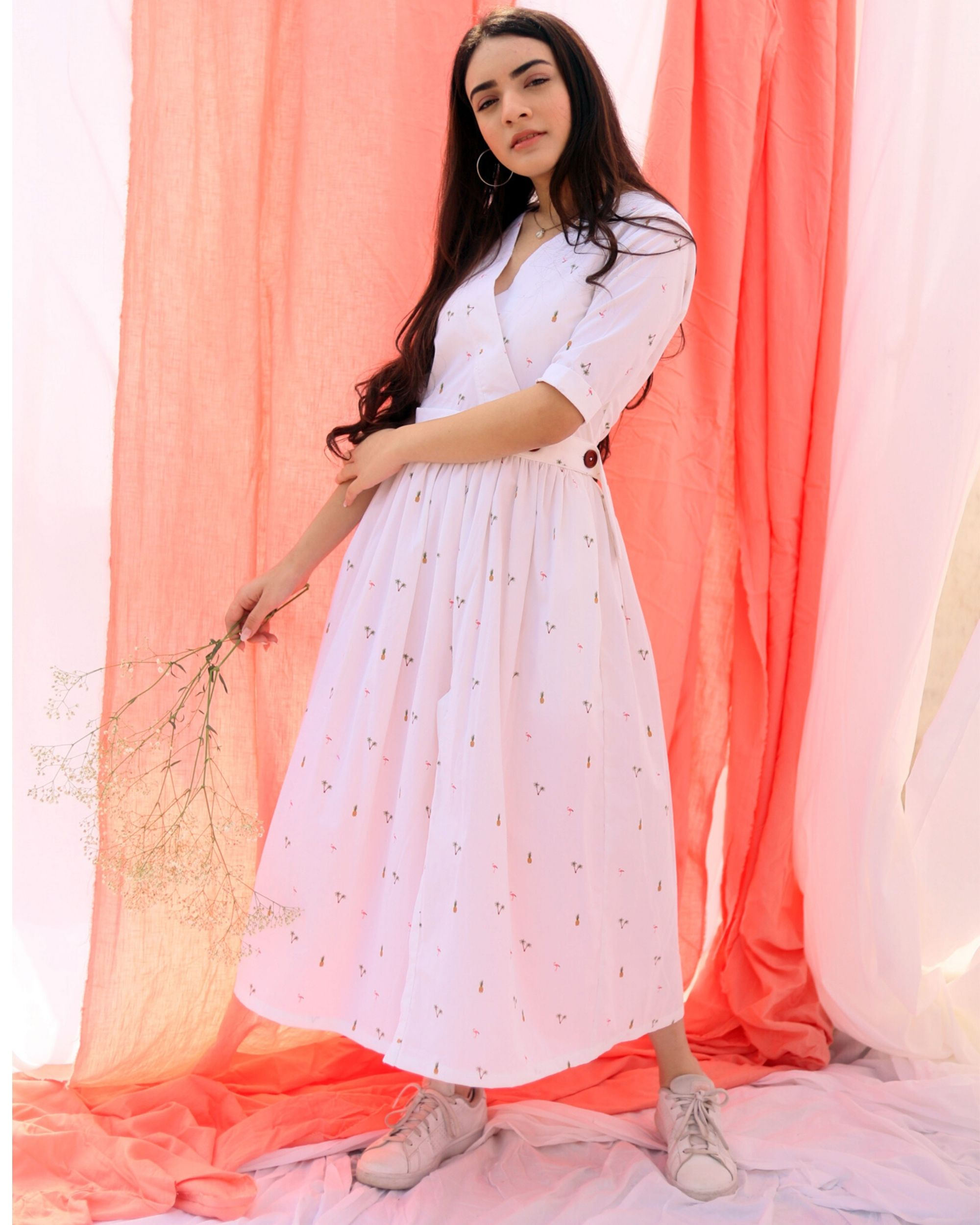 White printed wrap dress