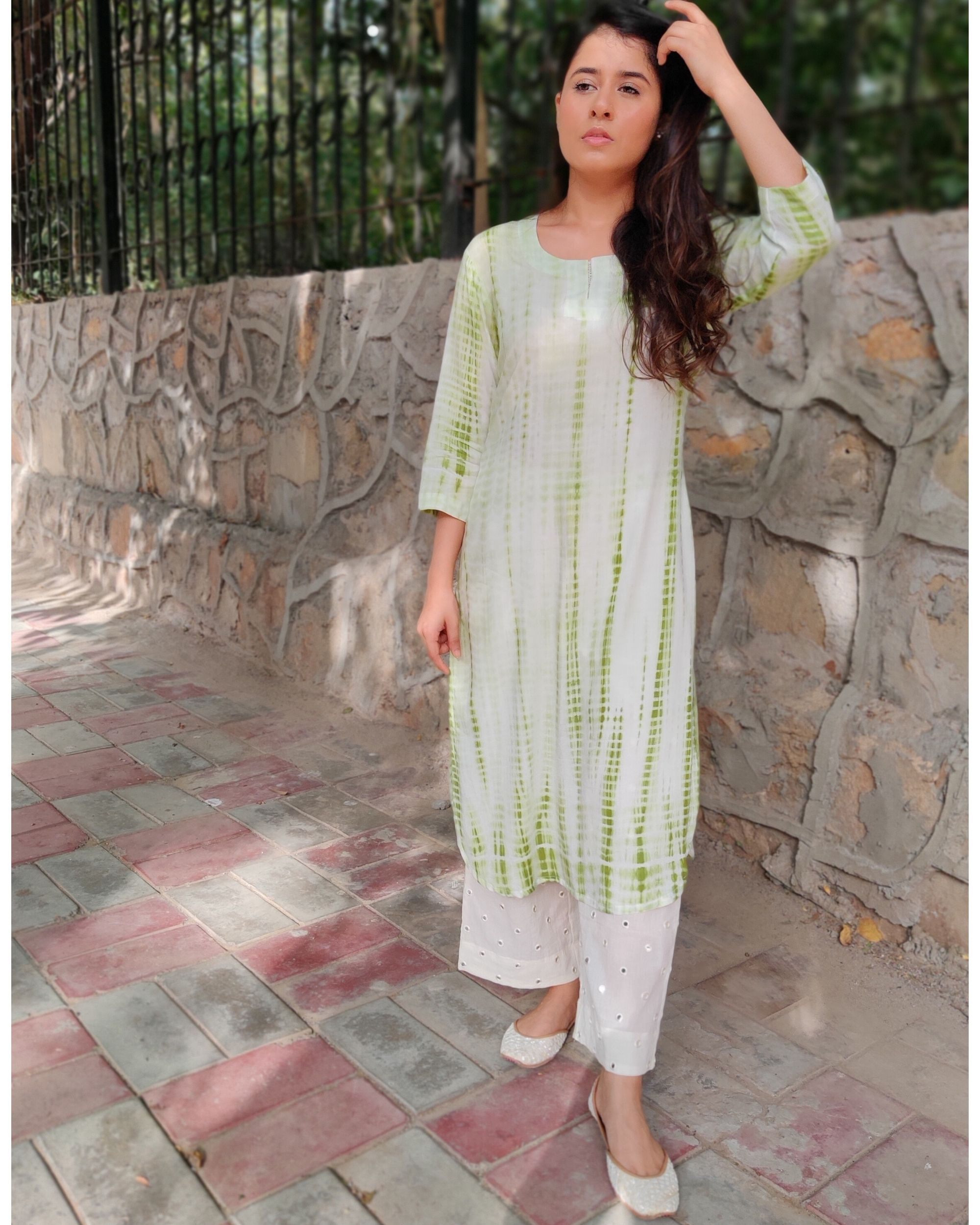 Green and off white tie and dye kurta and palazzo- Set Of Two