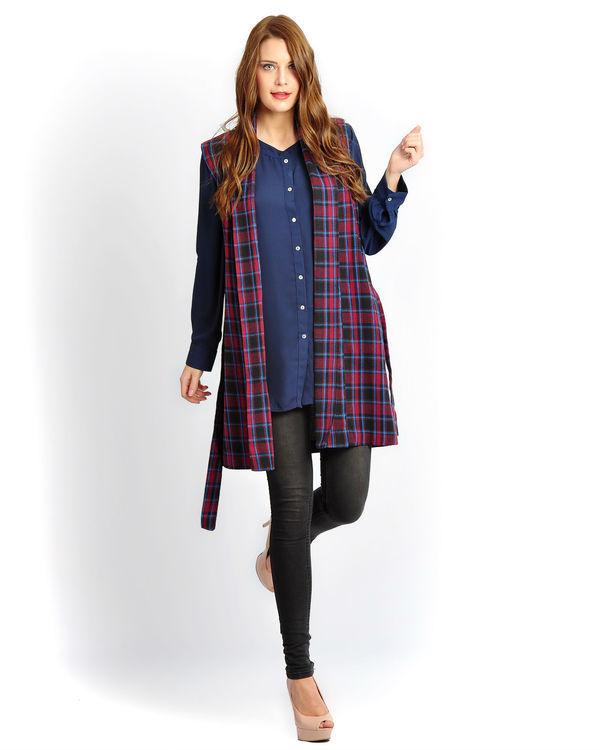 Burgundy check sleeveless tunic