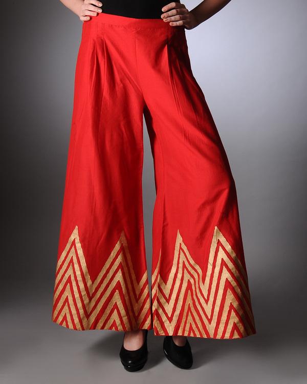Red block printed palazzo pants