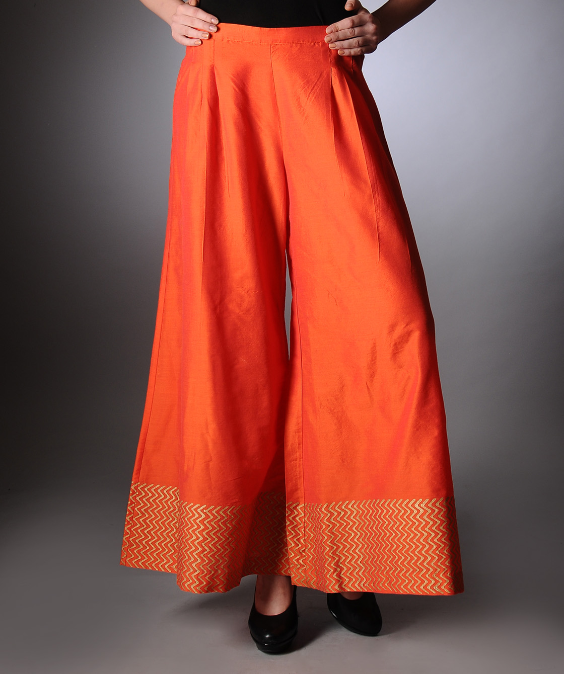 Orange block printed palazzo pants