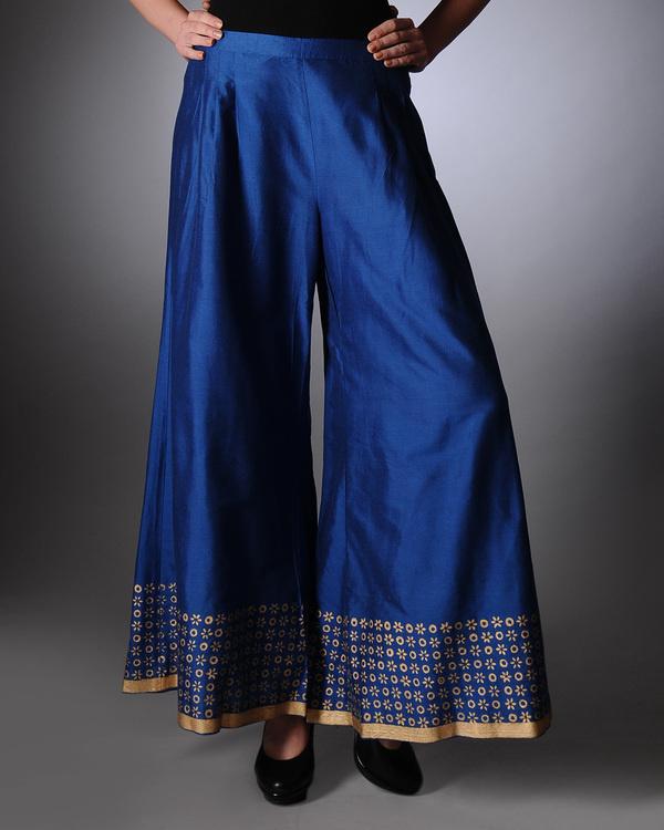 Blue block printed palazzo pants