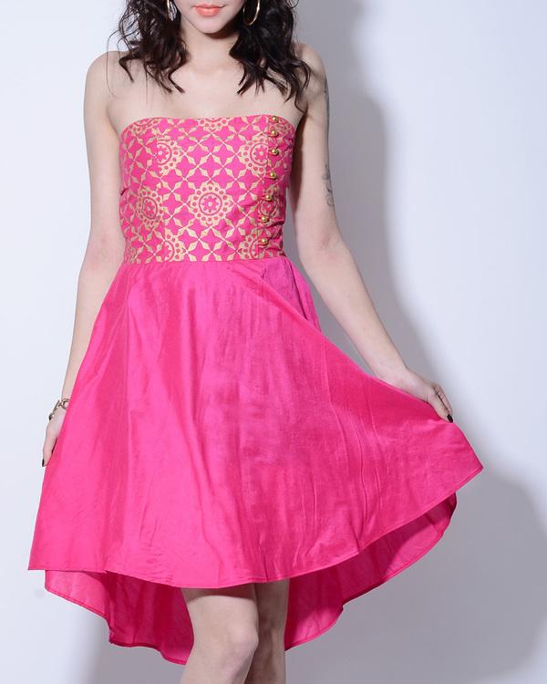 Pink foil printed dress