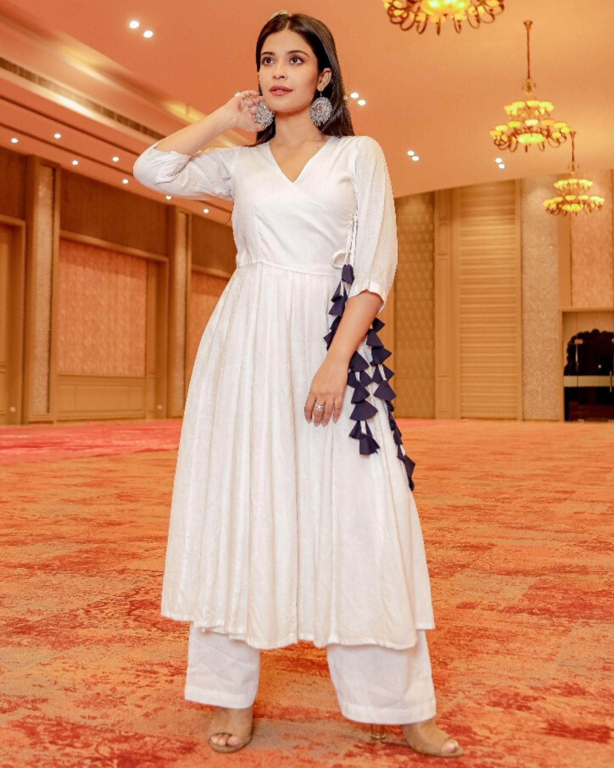 White angrakha kurta and palazzo- Set Of Two