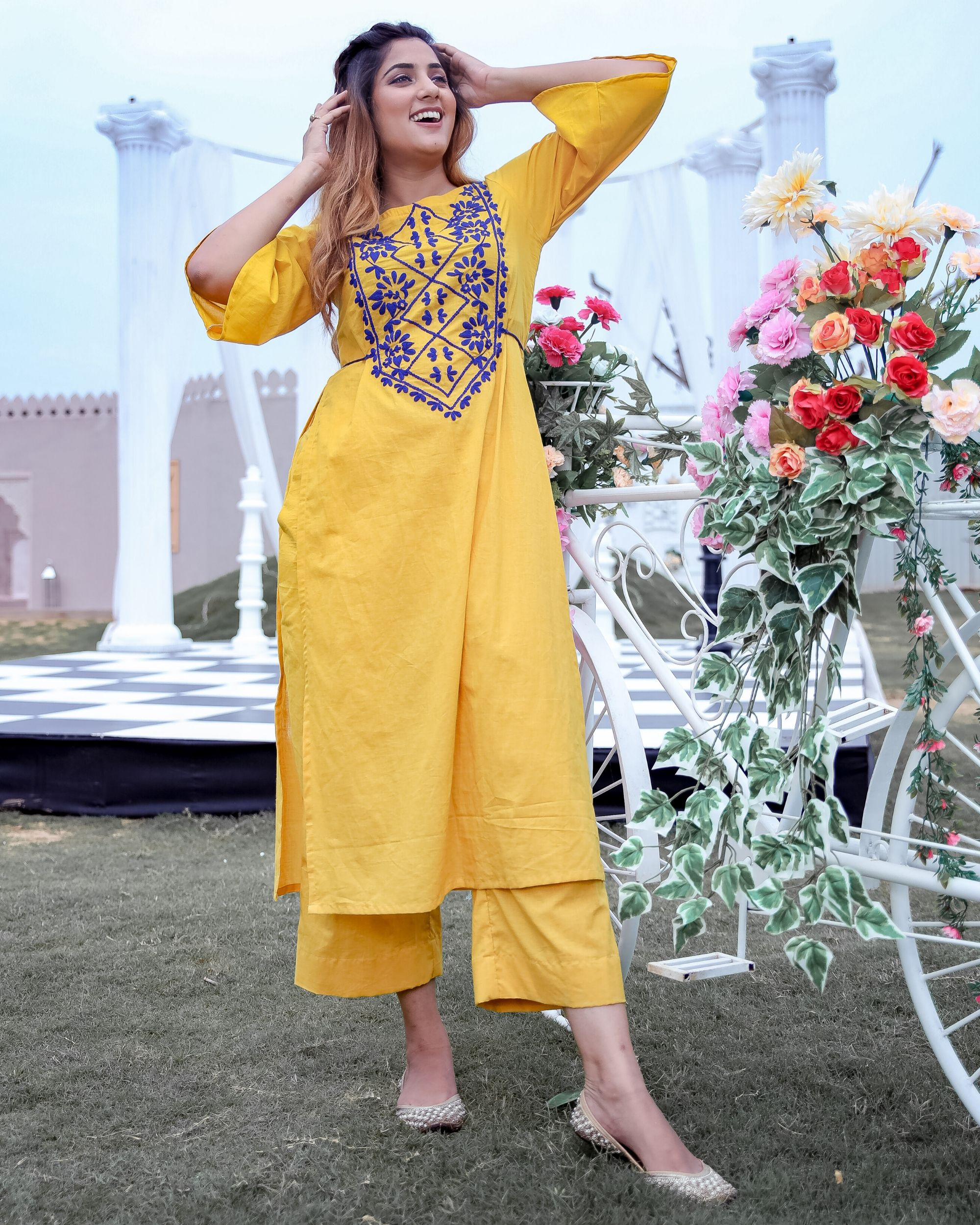 Yellow and blue dori embroidered kurta and pants- Set Of Two