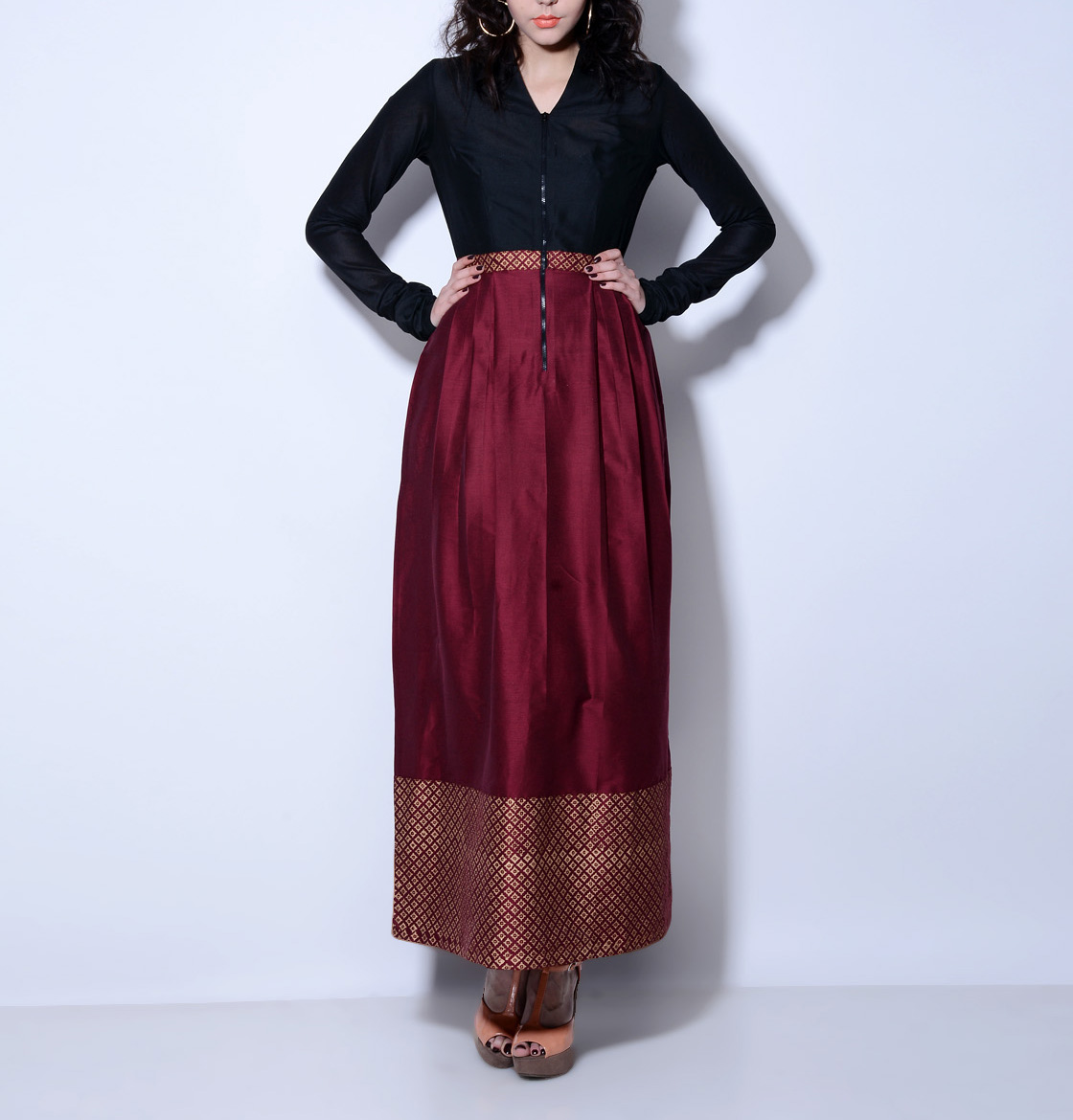 Maroon and black maxi dress